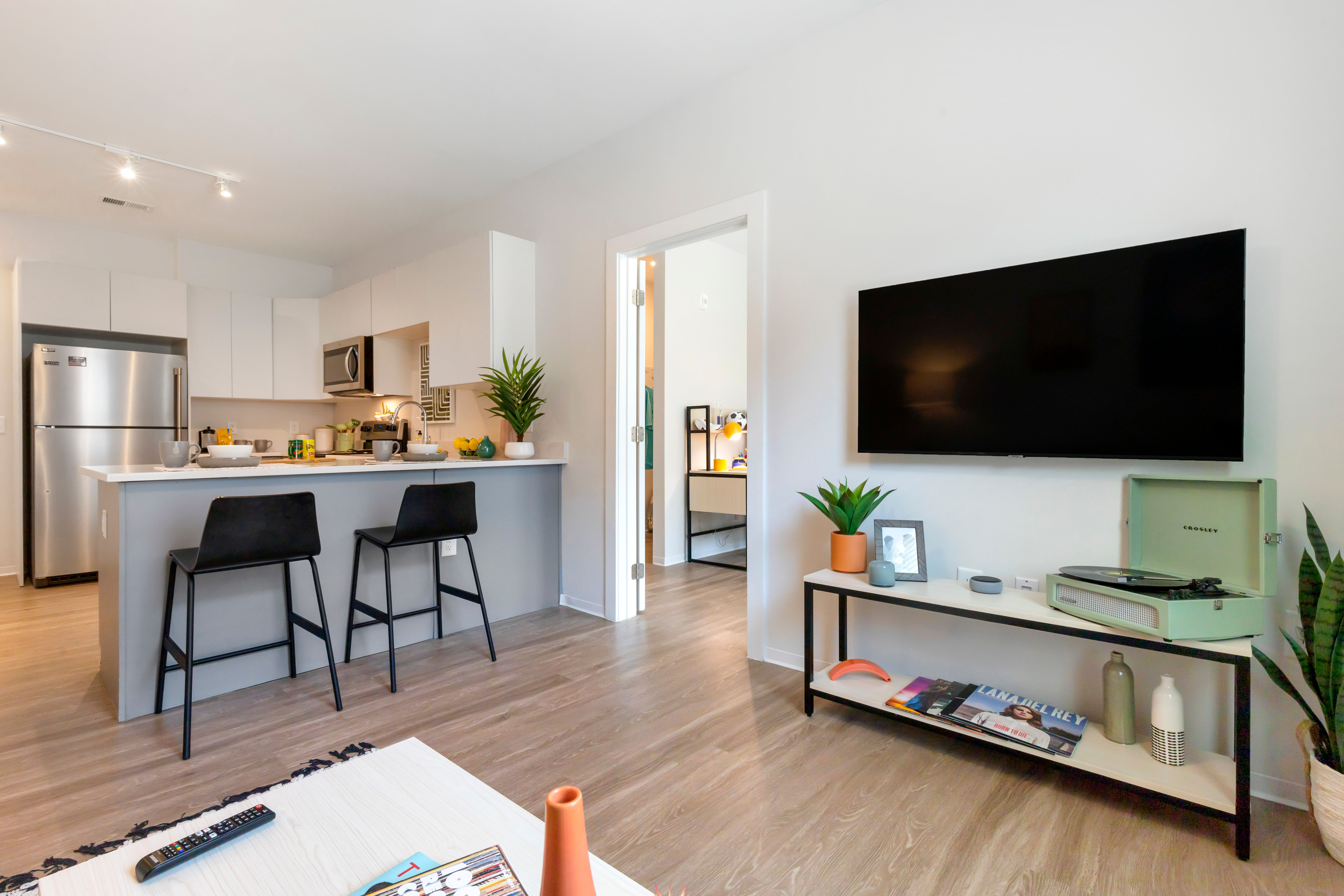 Fully furnished living room at UNCOMMON Raleigh in Raleigh, North Carolina