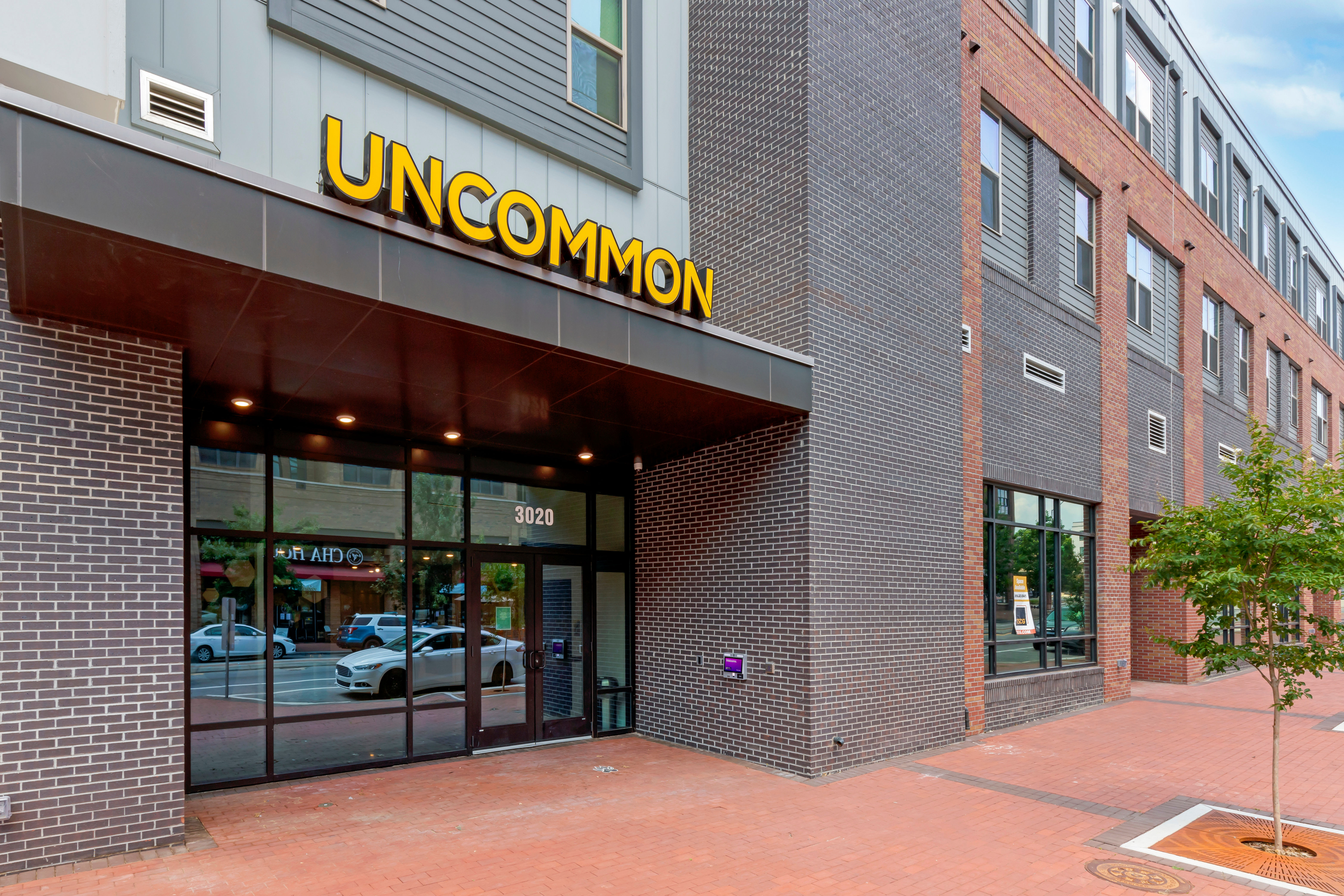 Entrance of UNCOMMON Raleigh's building in Raleigh, North Carolina