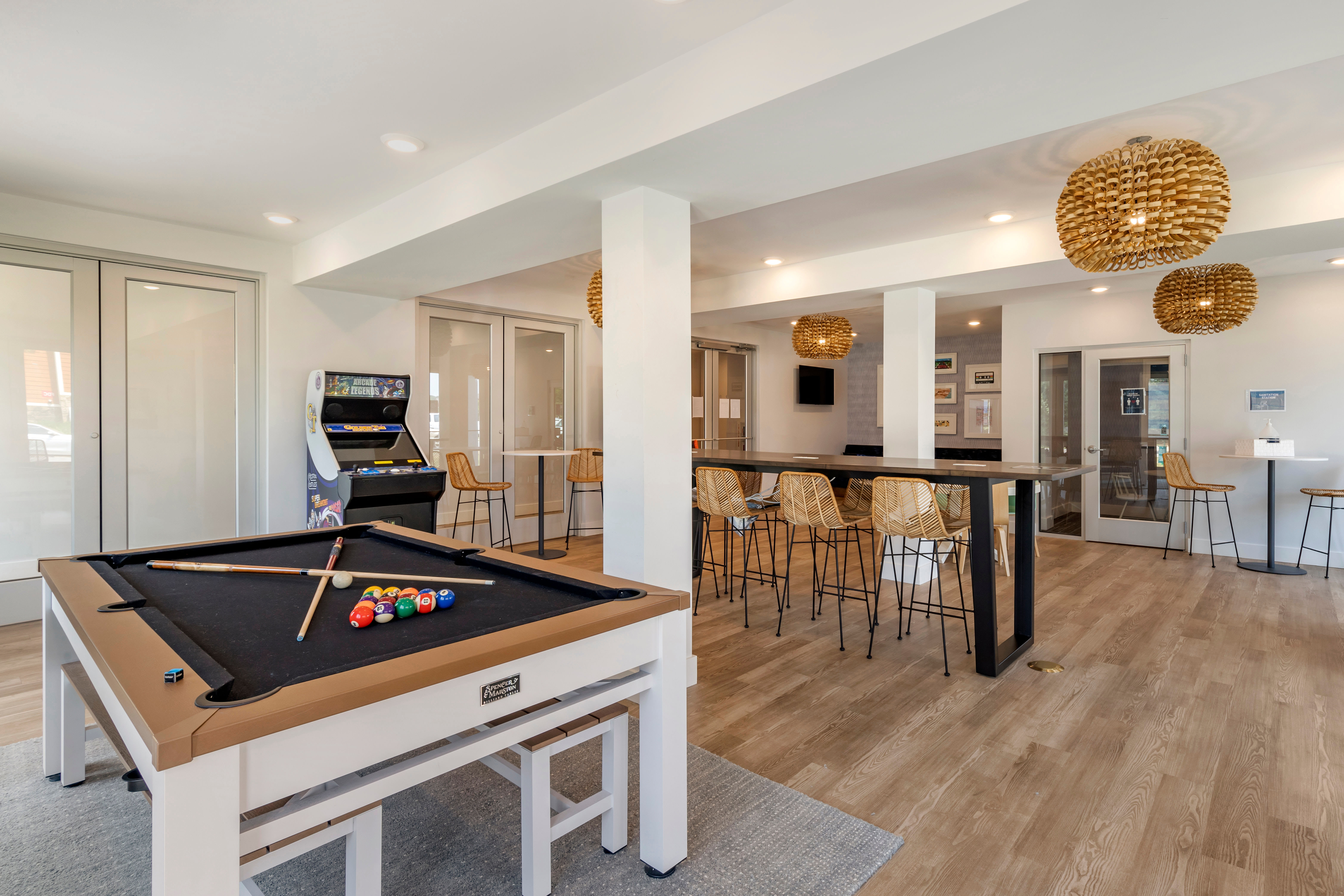 Game room for residents at LATITUDE on Hillsborough in Raleigh, North Carolina