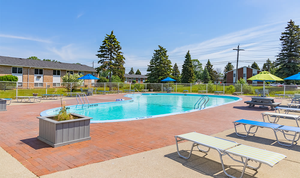 Swimming pool and sundeck at Glenbrook Manor in Rochester, New York