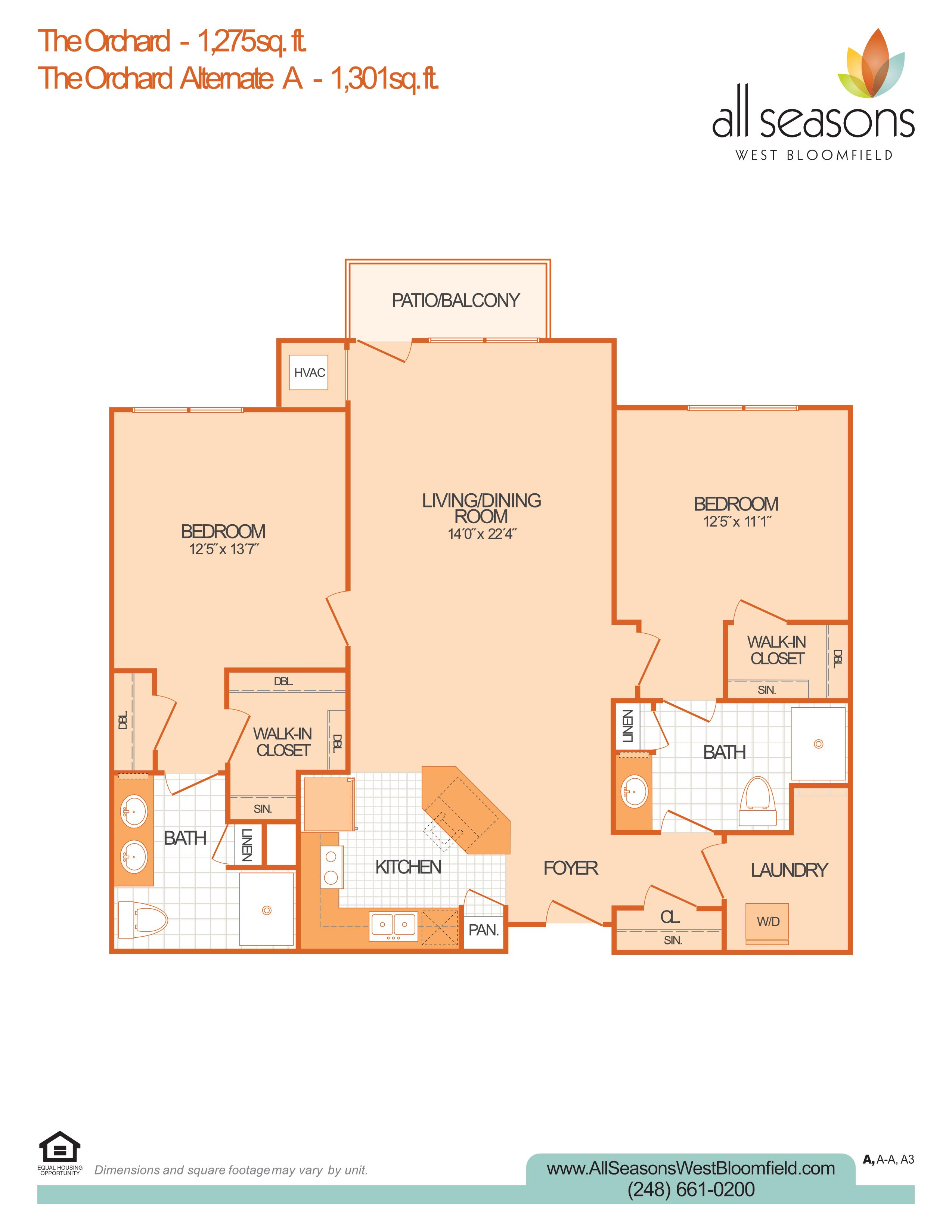 The Orchard floor plan at All Seasons West Bloomfield in West Bloomfield, Michigan