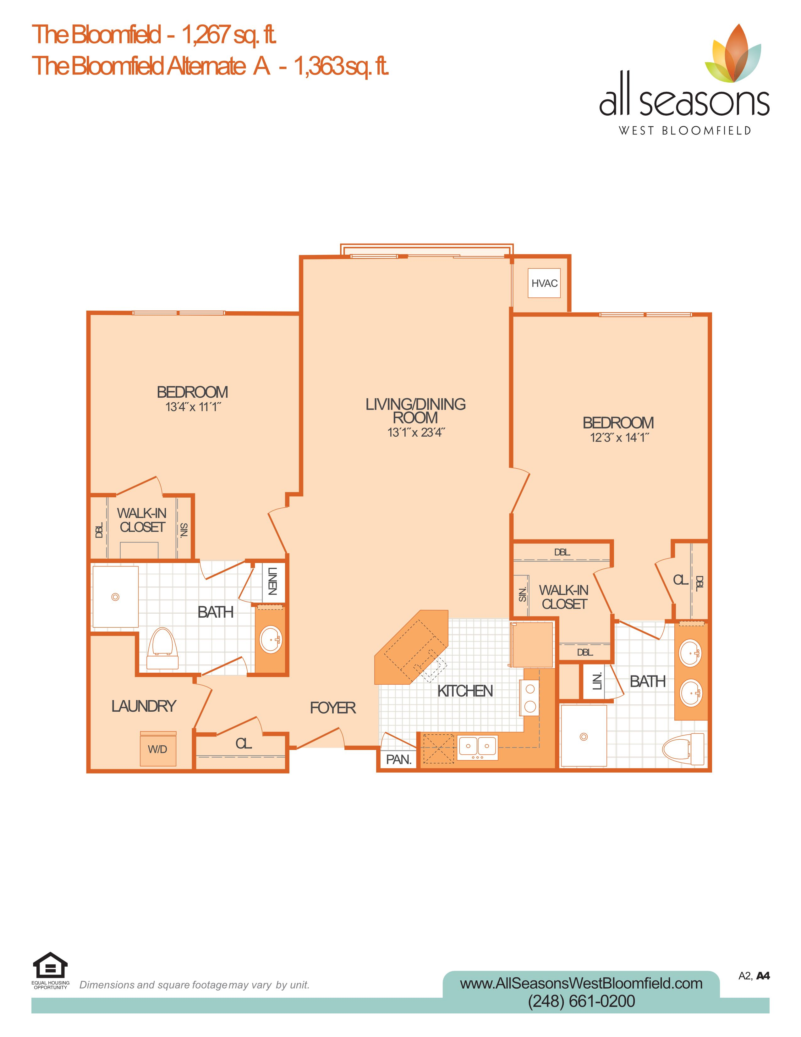 The Bloomfield floor plan at All Seasons West Bloomfield in West Bloomfield, Michigan
