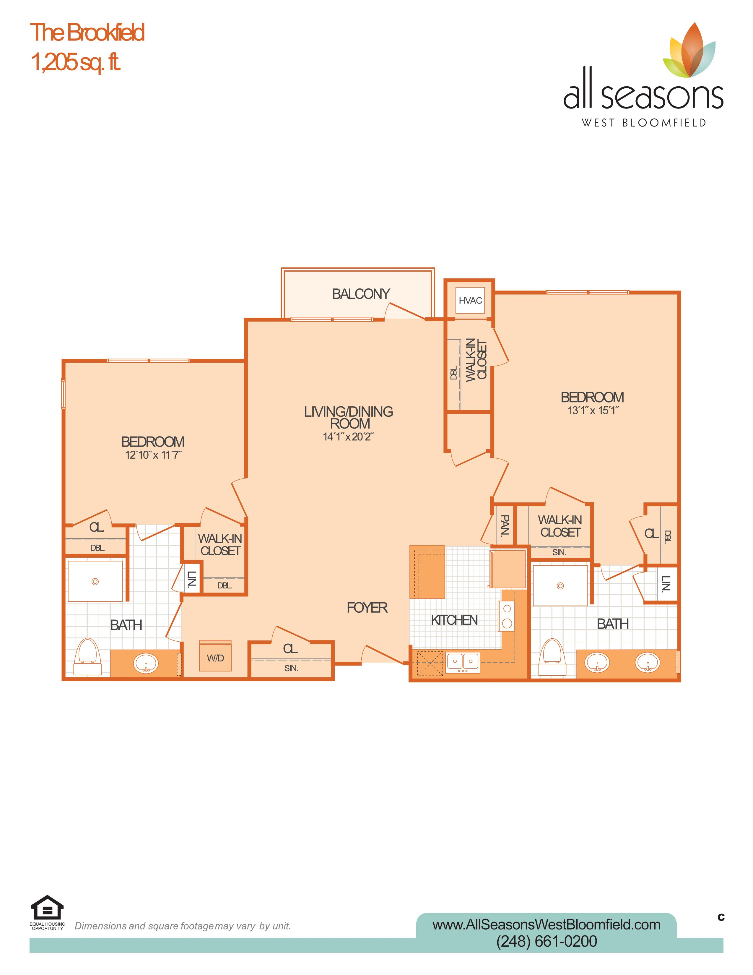 The Brookfield floor plan at All Seasons West Bloomfield in West Bloomfield, Michigan