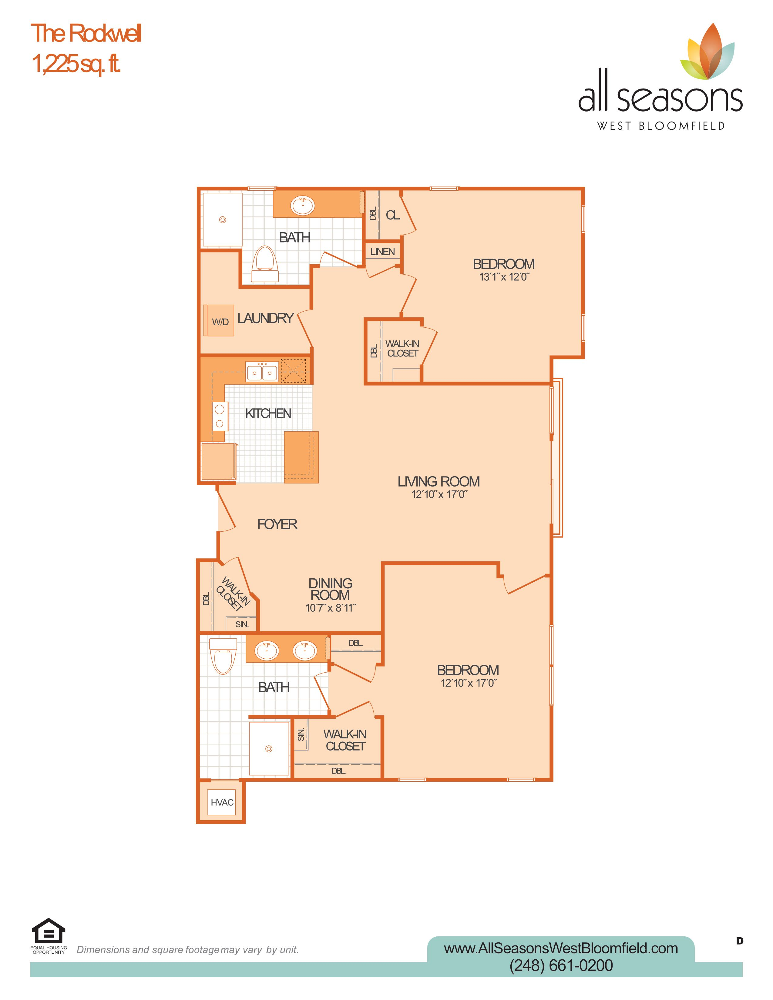 The Rockwell floor plan at All Seasons West Bloomfield in West Bloomfield, Michigan