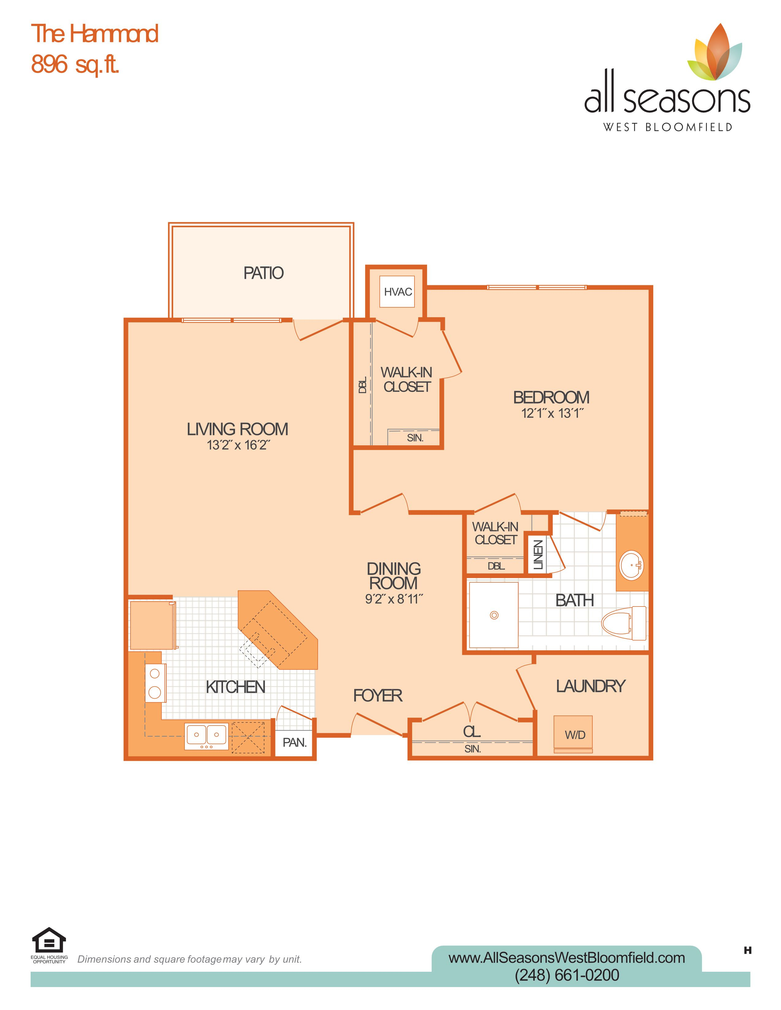 The Hammond floor plan at All Seasons West Bloomfield in West Bloomfield, Michigan