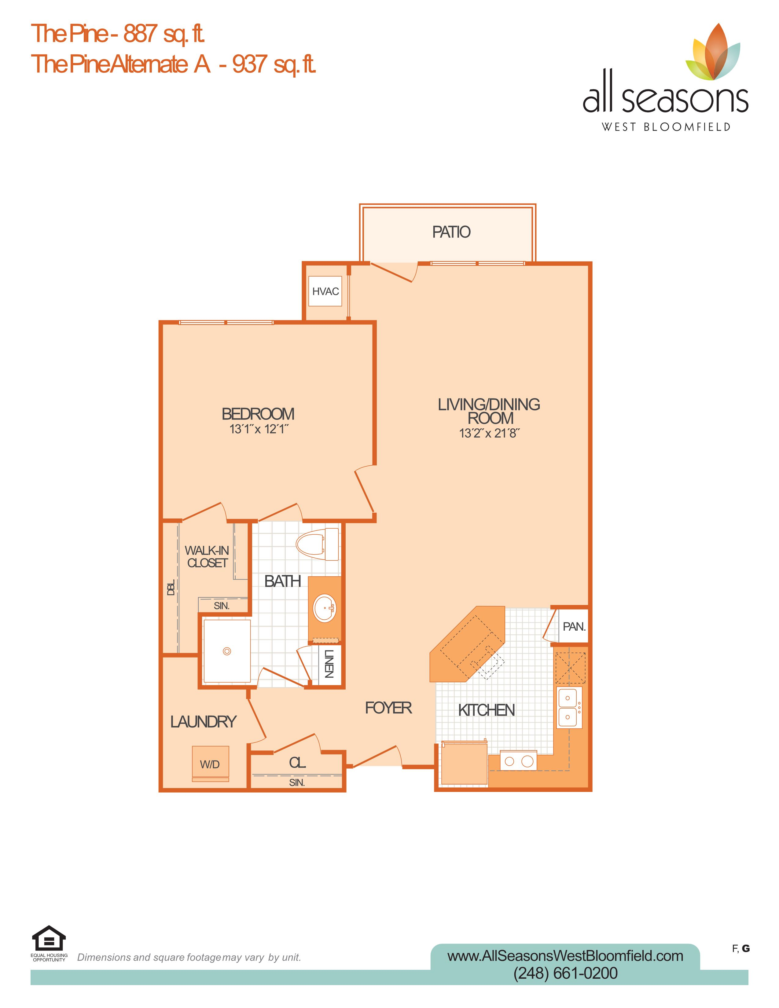 The Pine floor plan at All Seasons West Bloomfield in West Bloomfield, Michigan