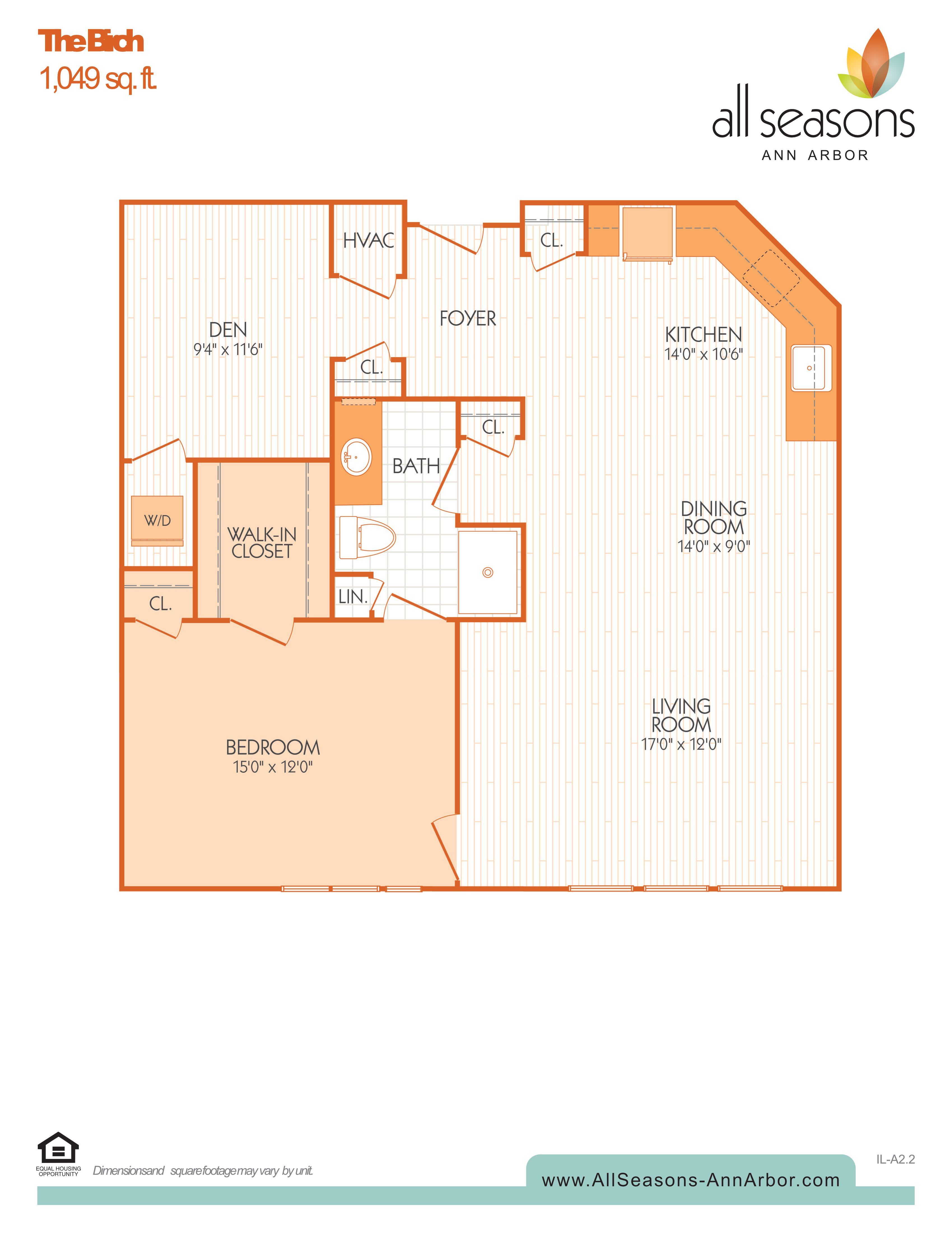 The Birch floor plan at All Seasons Ann Arbor in Ann Arbor, Michigan