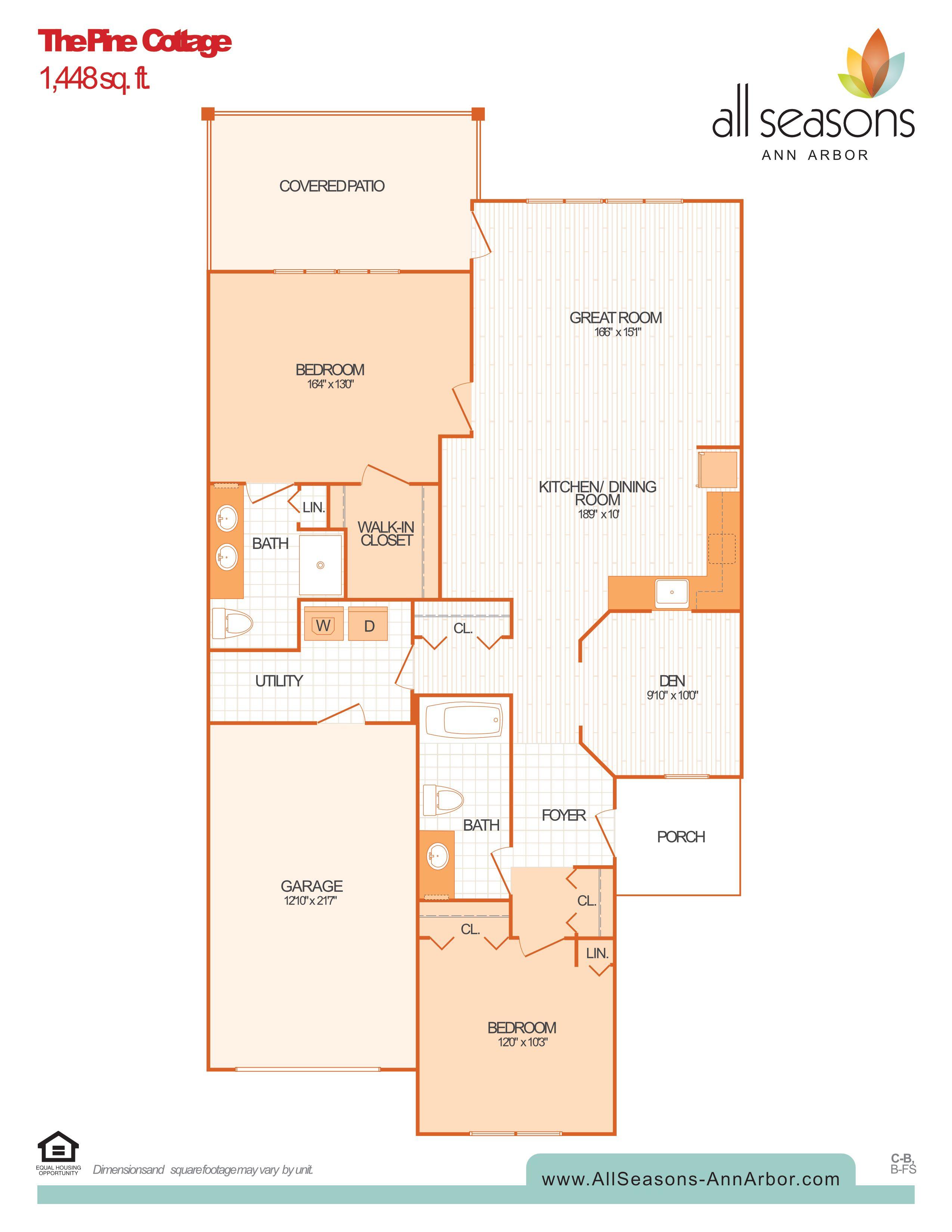 The Pine Cottage floor plan at All Seasons Ann Arbor in Ann Arbor, Michigan
