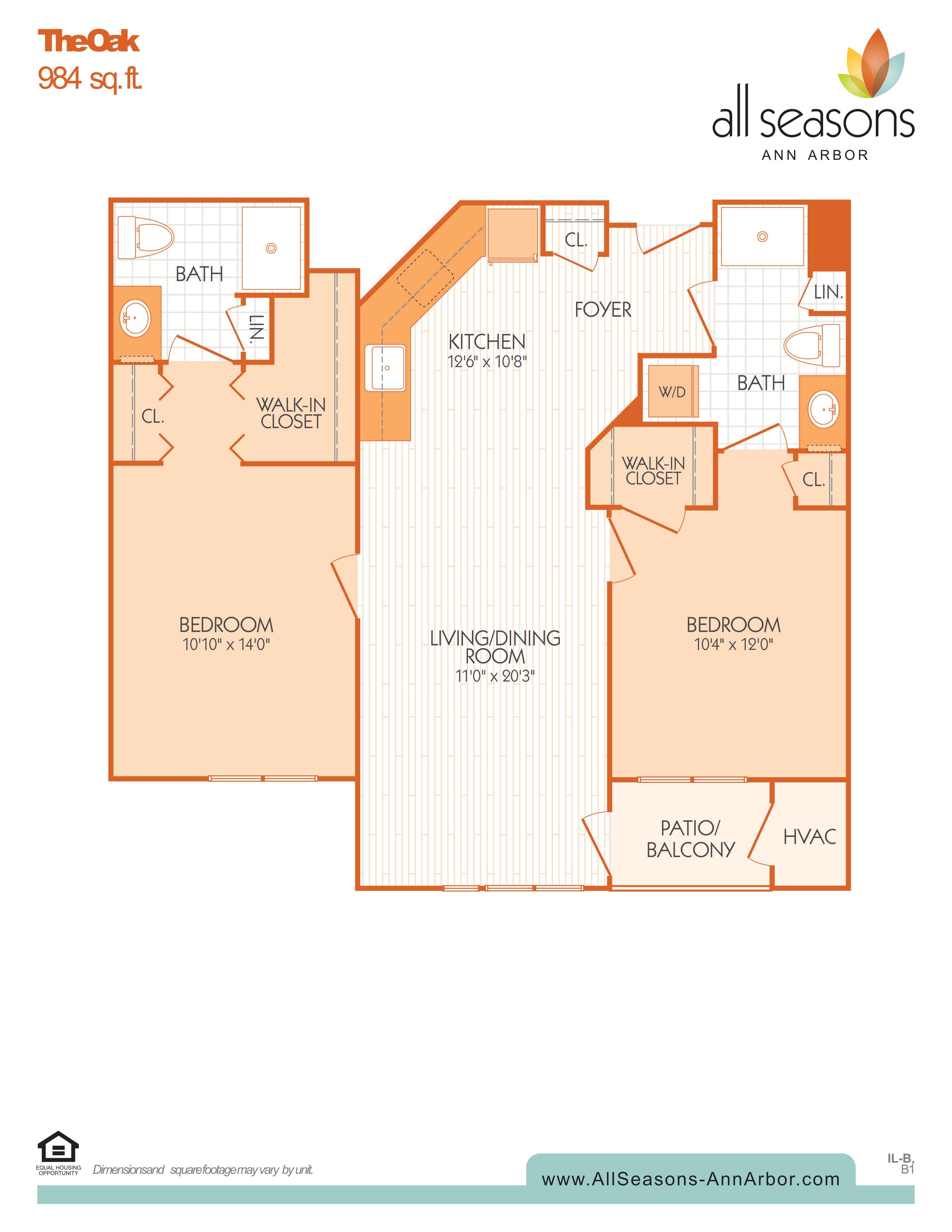 The Oak floor plan at All Seasons Ann Arbor in Ann Arbor, Michigan