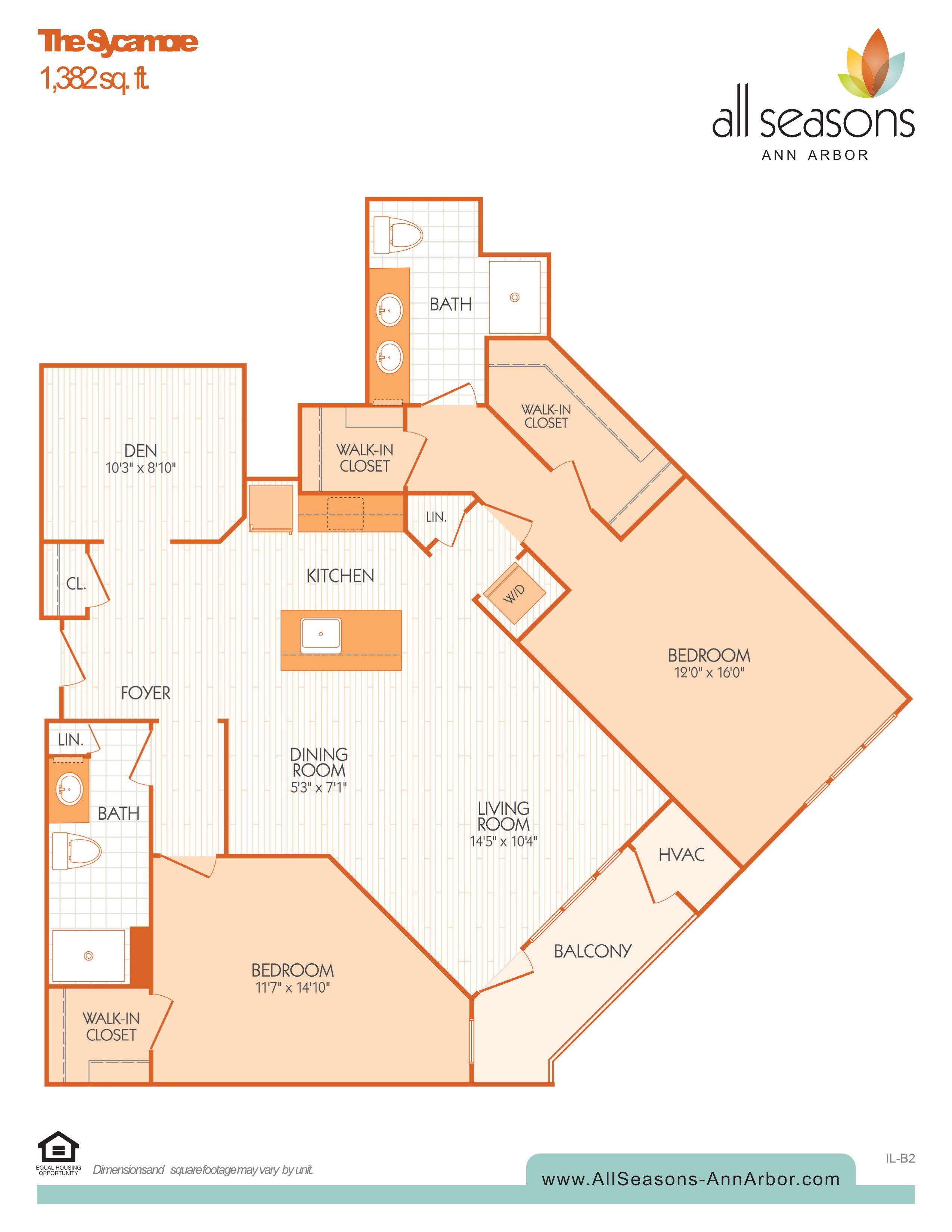 The Sycamore floor plan at All Seasons Ann Arbor in Ann Arbor, Michigan