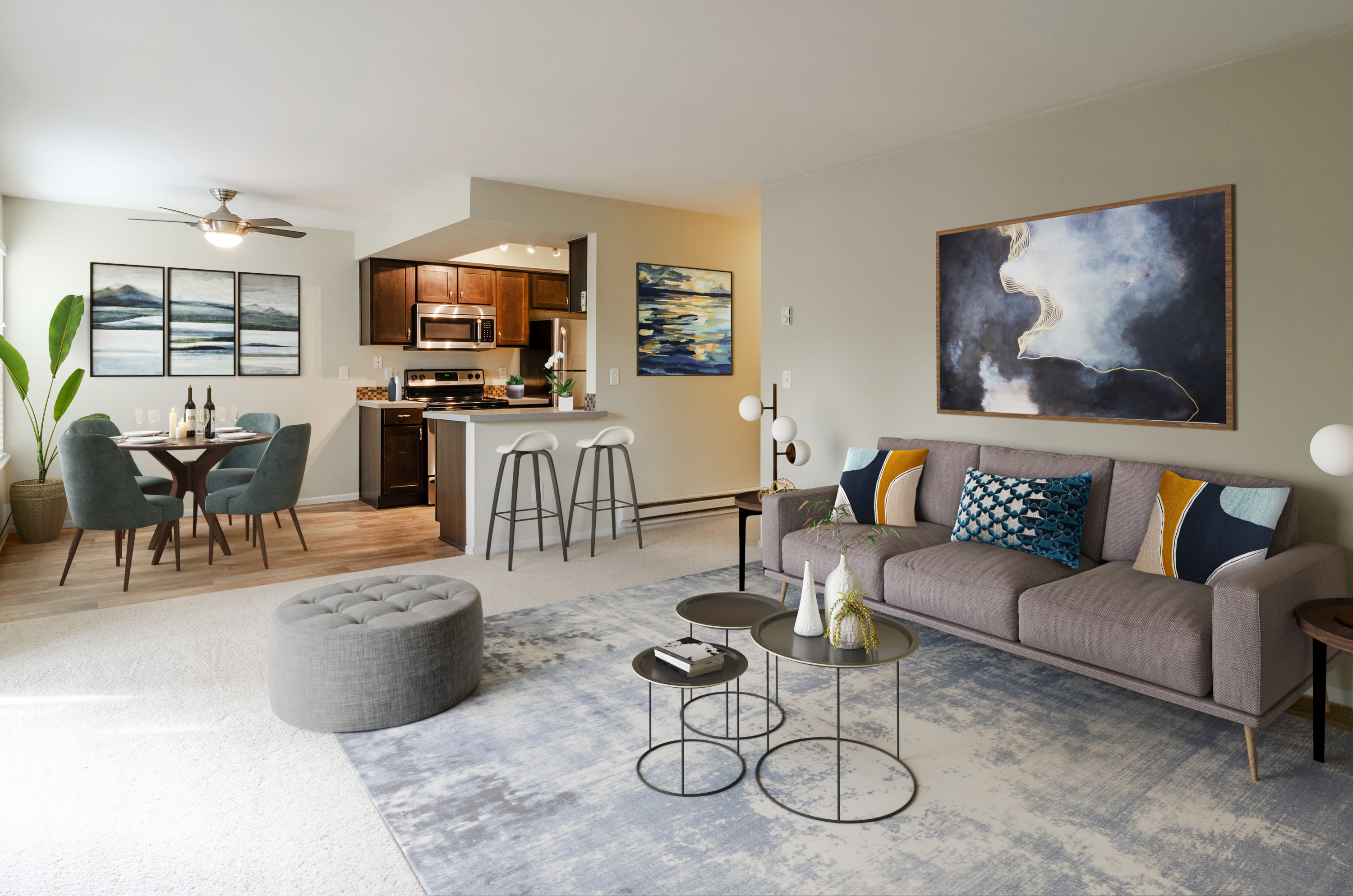 Naturally well lit living room with fireplace at Sofi Lake Oswego in Lake Oswego, OR