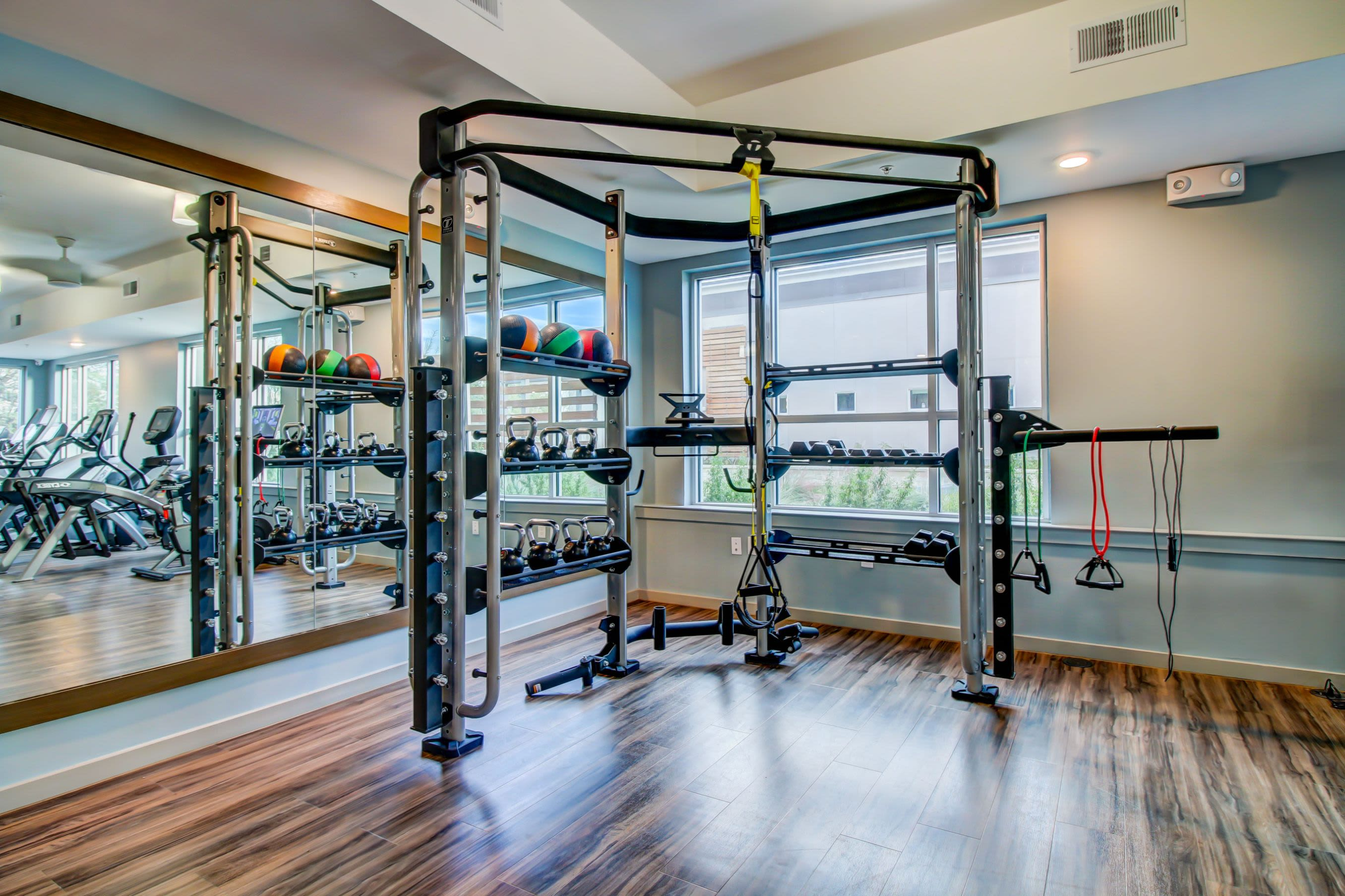 Various exercise equipment in the fitness center at Westerly 360 in Austin, Texas