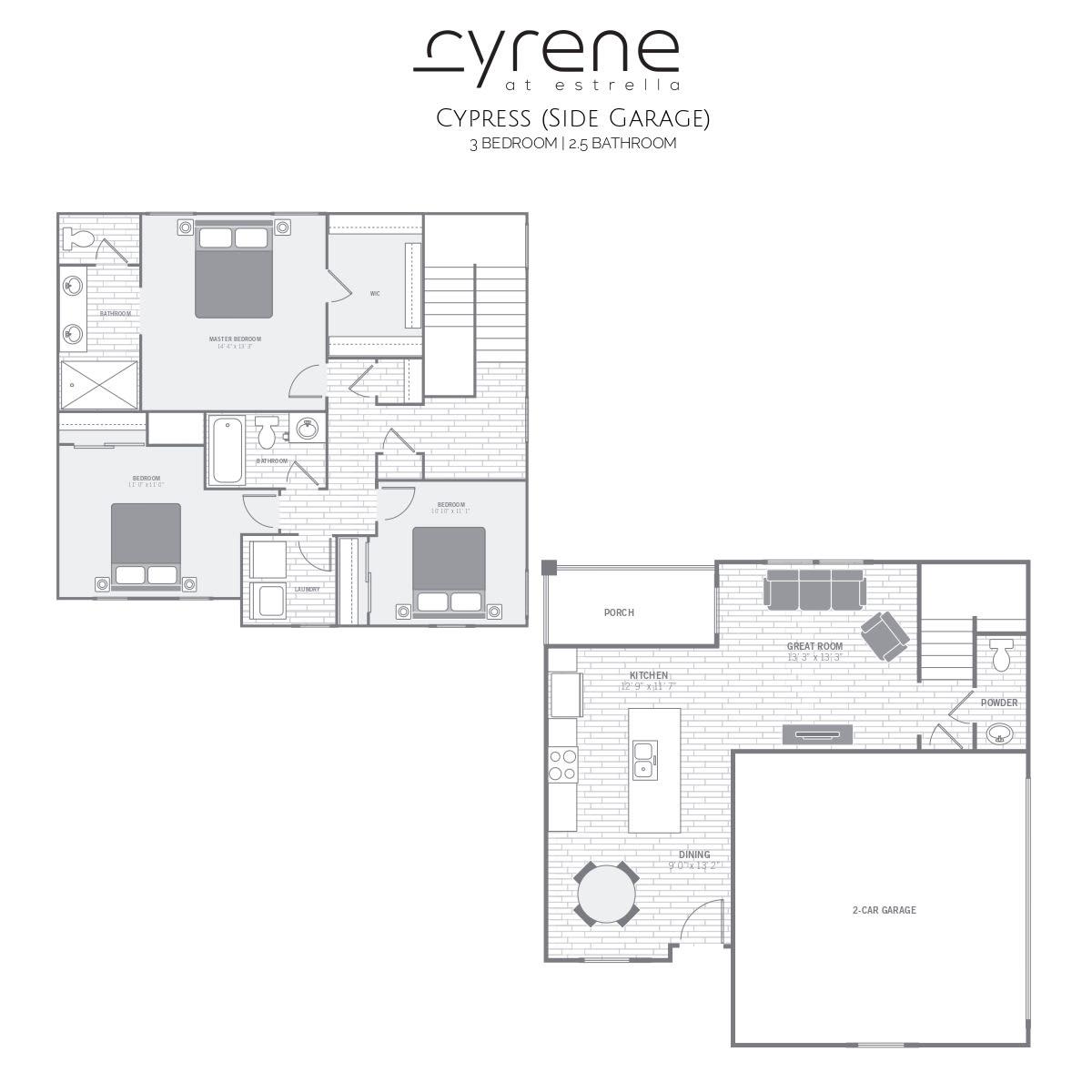 Cypress (side garage) 3 Bedroom 2.5 Bathroom