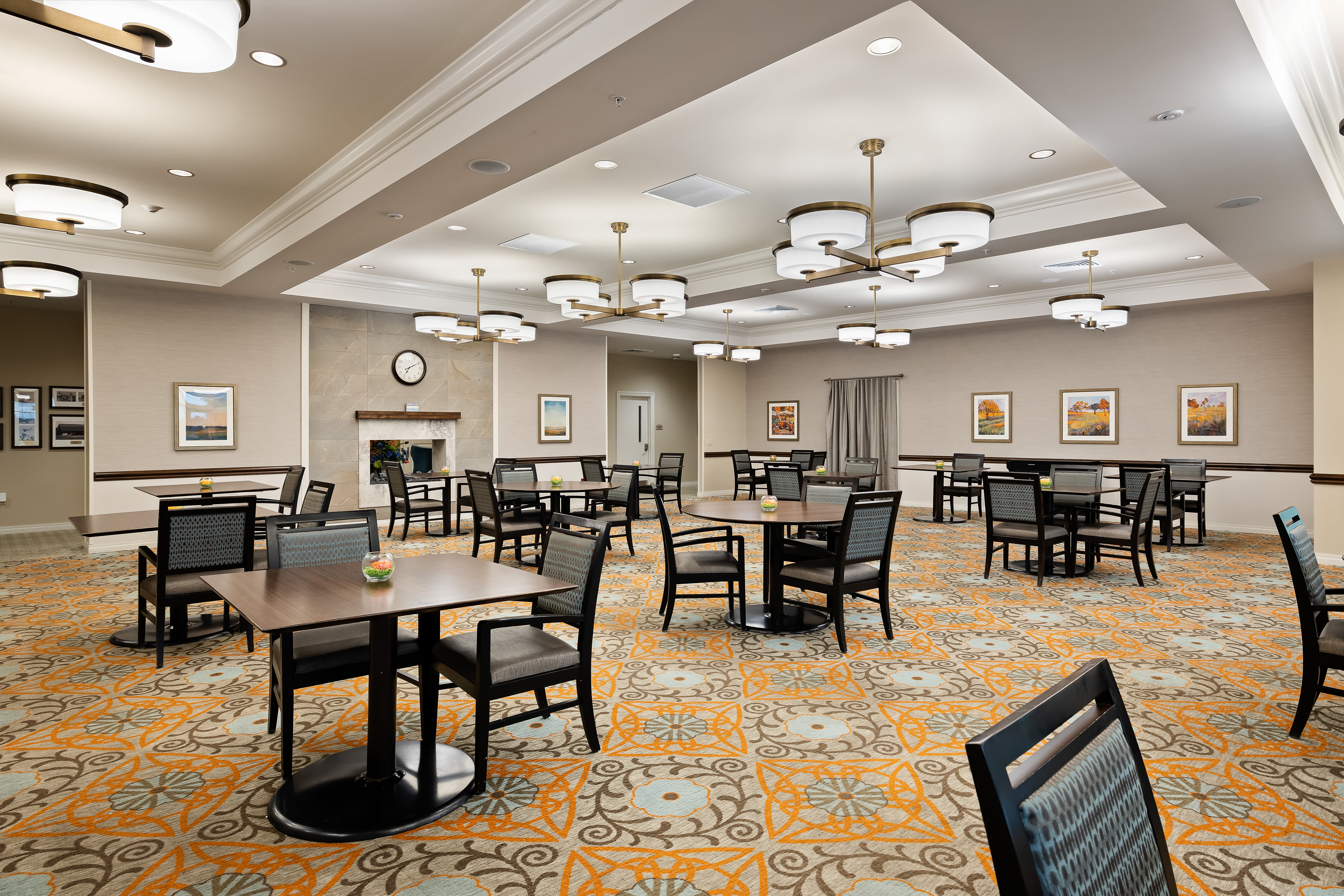 Large resident dining room at Anthology of Overland Park in Overland Park, Kansas.