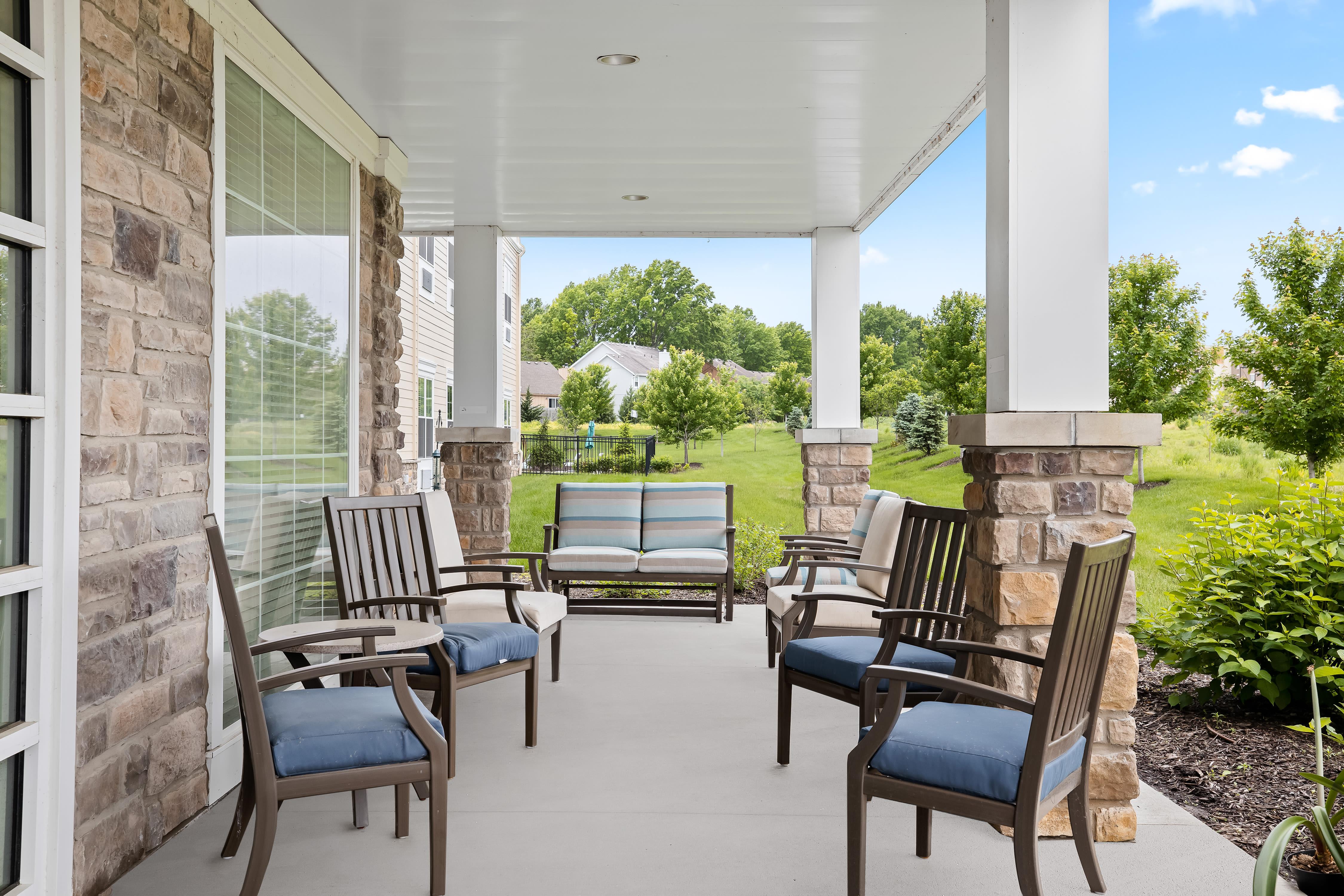 Bistro seating at Anthology of Overland Park in Overland Park, Kansas.