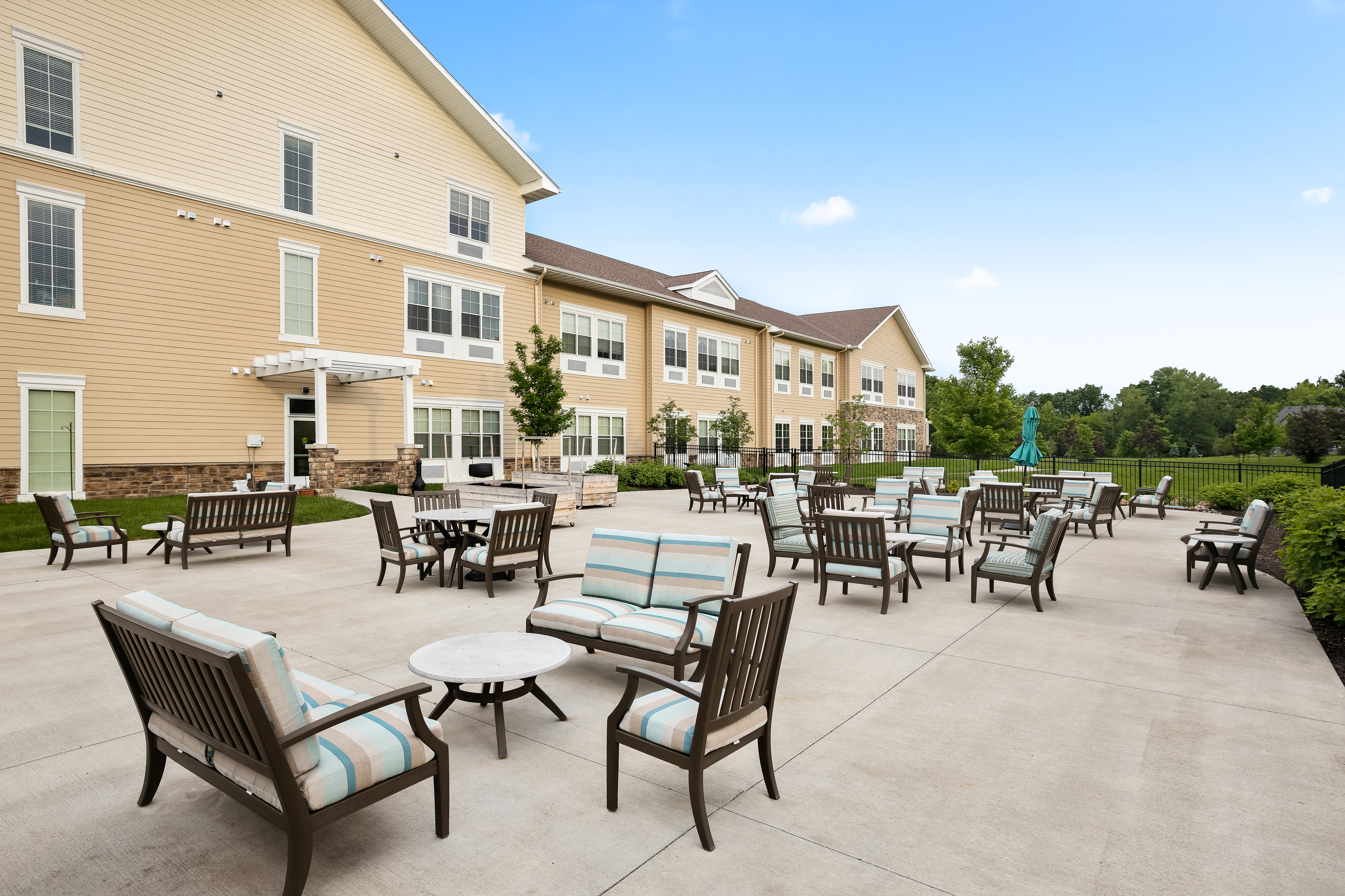 A sunny patio at Anthology of Overland Park in Overland Park, Kansas