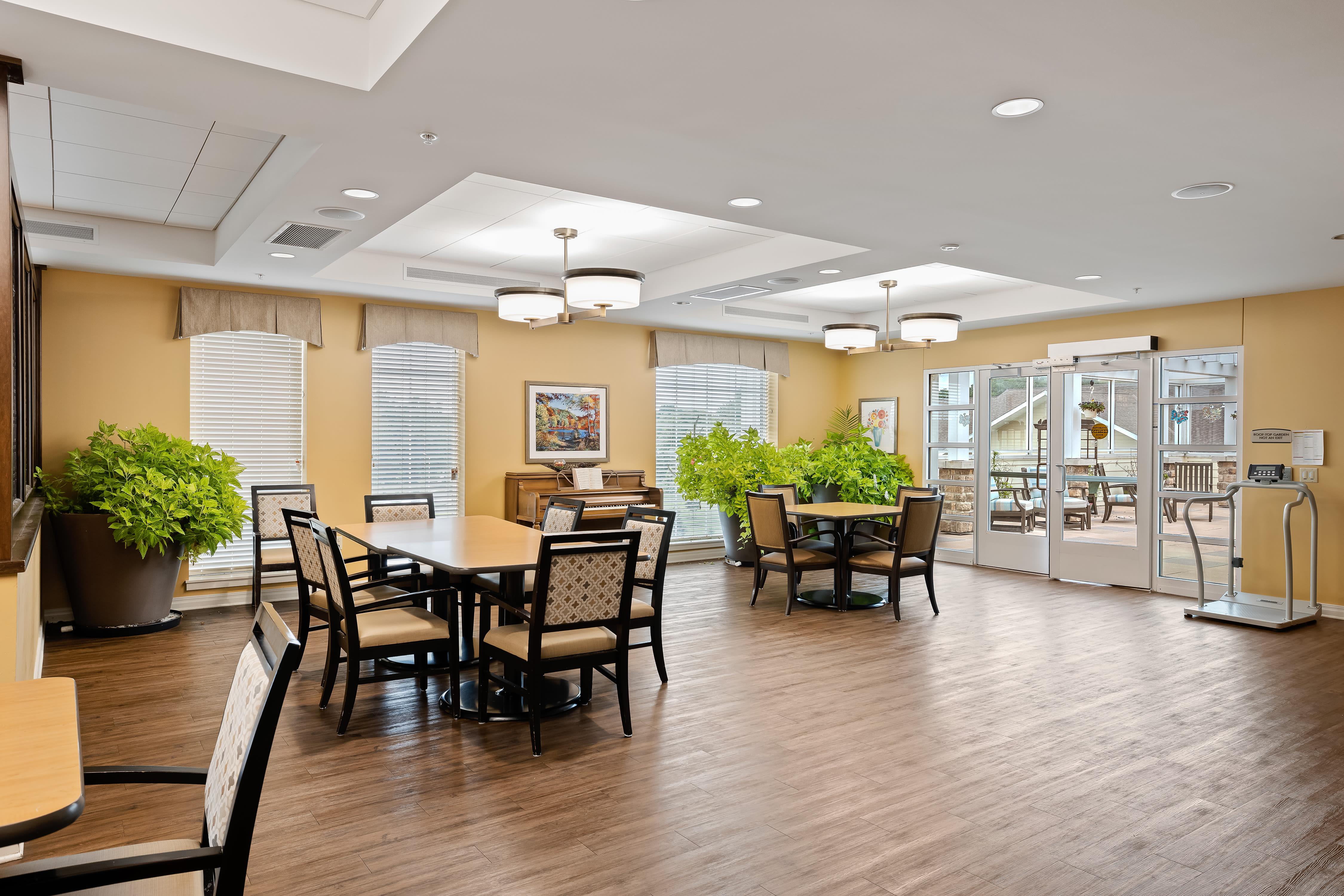 A dining room at Anthology of Overland Park in Overland Park, Kansas