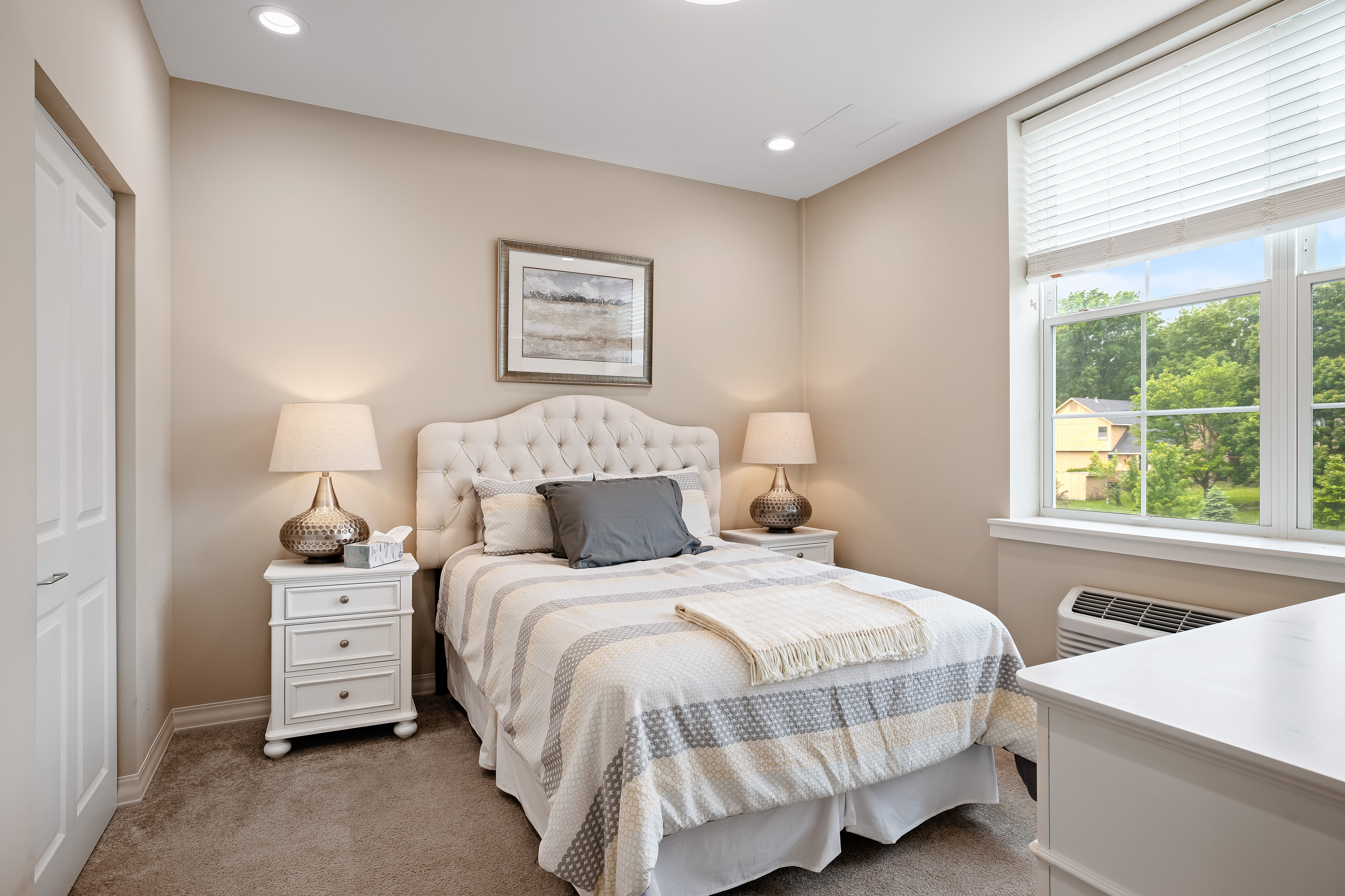 A resident bedroom at Anthology of Overland Park in Overland Park, Kansas.
