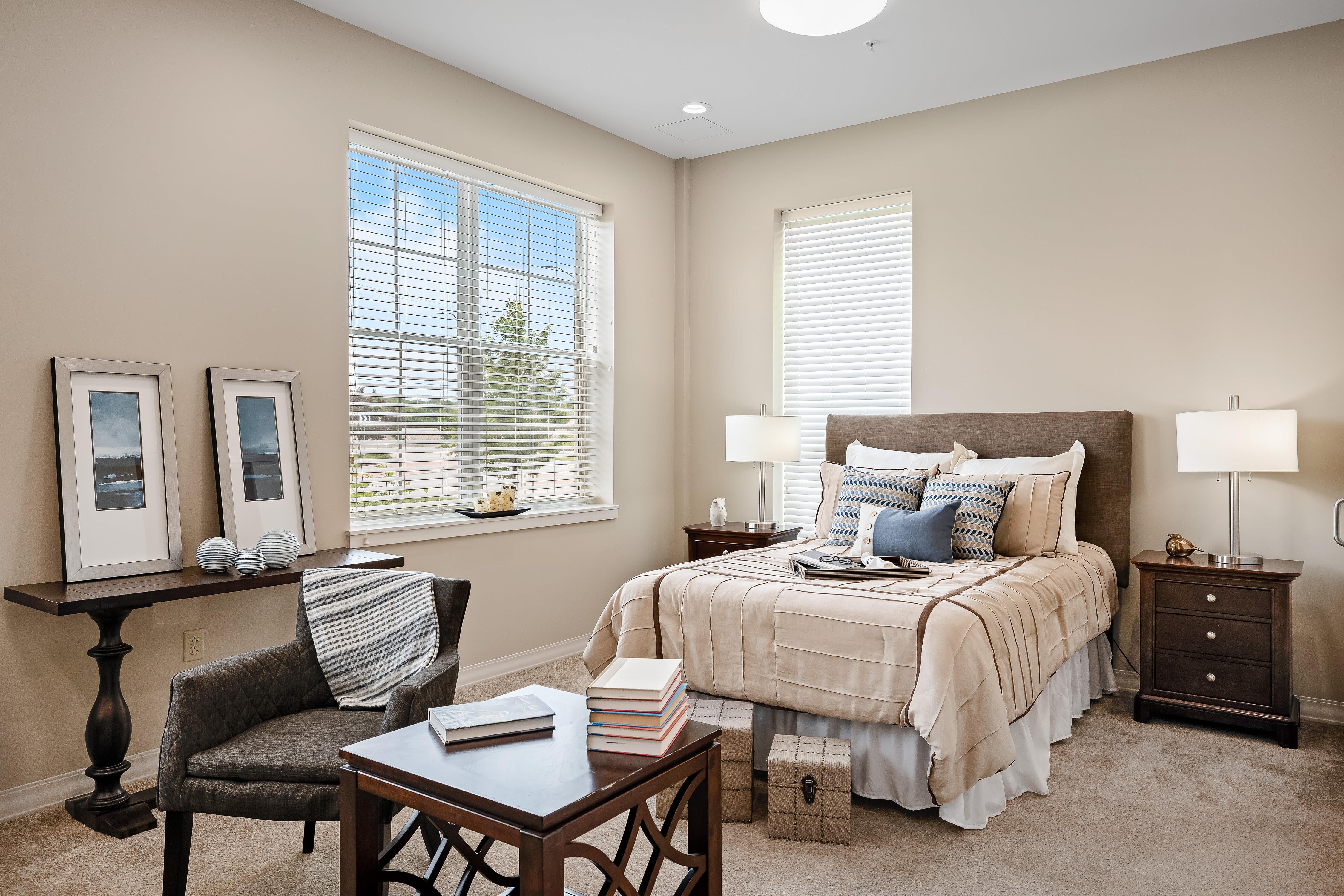 A sunny resident bedroom at Anthology of Overland Park in Overland Park, Kansas