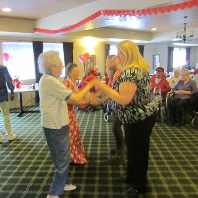 Dancing at Avalon Assisted Living Community in Fitchburg, Wisconsin