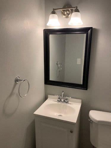 Bathroom mirror Andrus Court Apartments in Columbus, Ohio