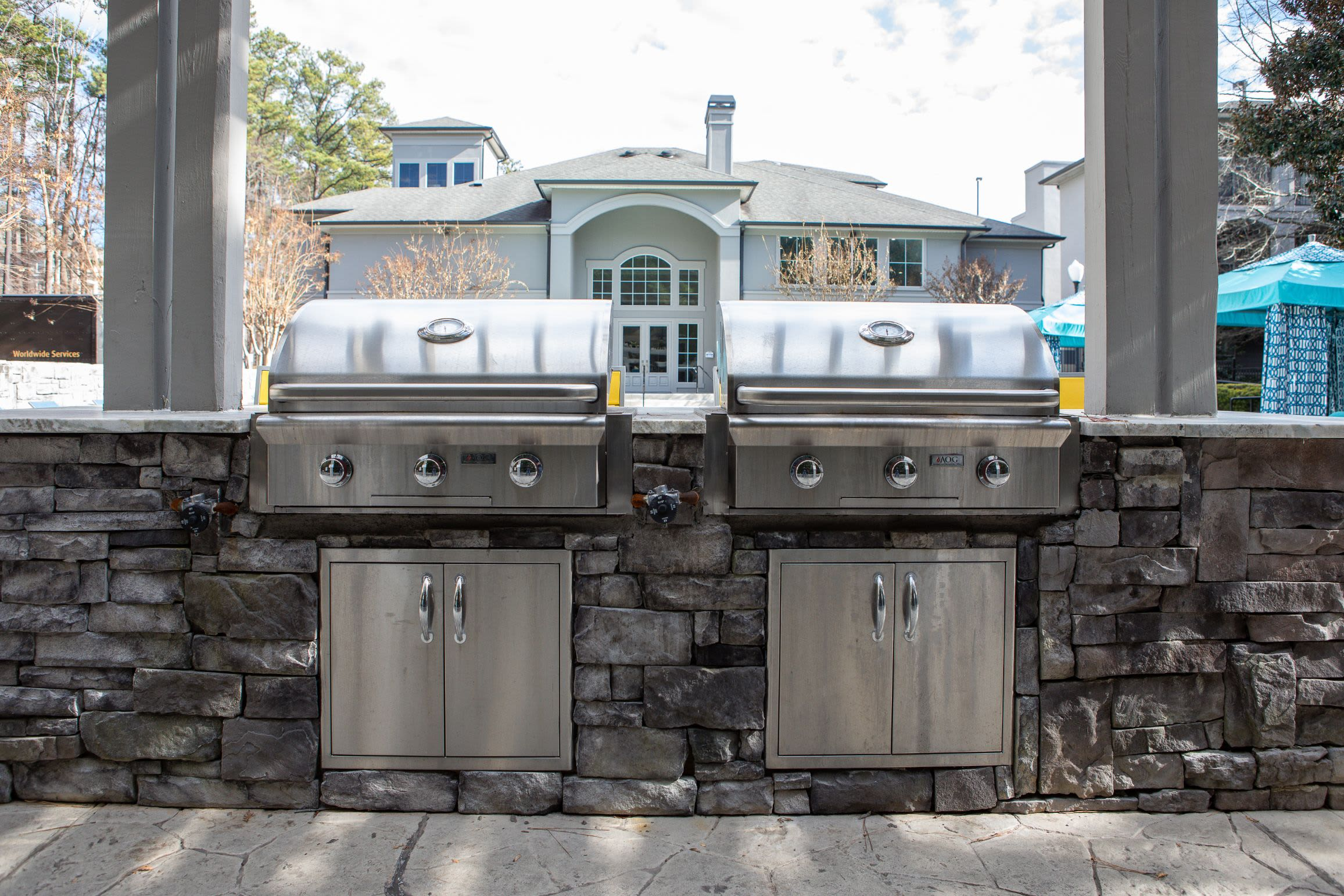 Gas grills near the pool at Marq Perimeter in Atlanta, Georgia