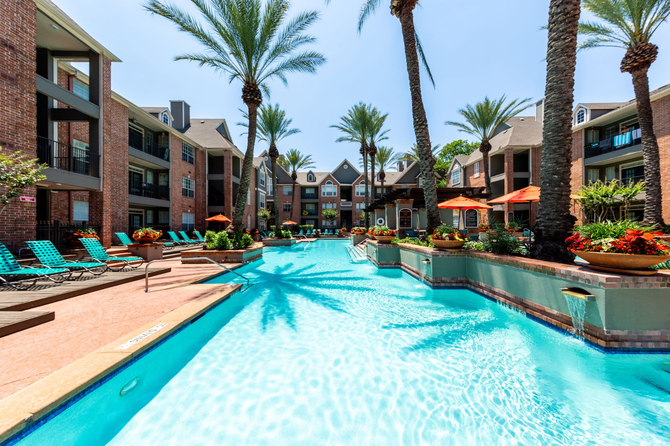 Resort style pool with palm trees at Marquis on Pin Oak in Houston, Texas