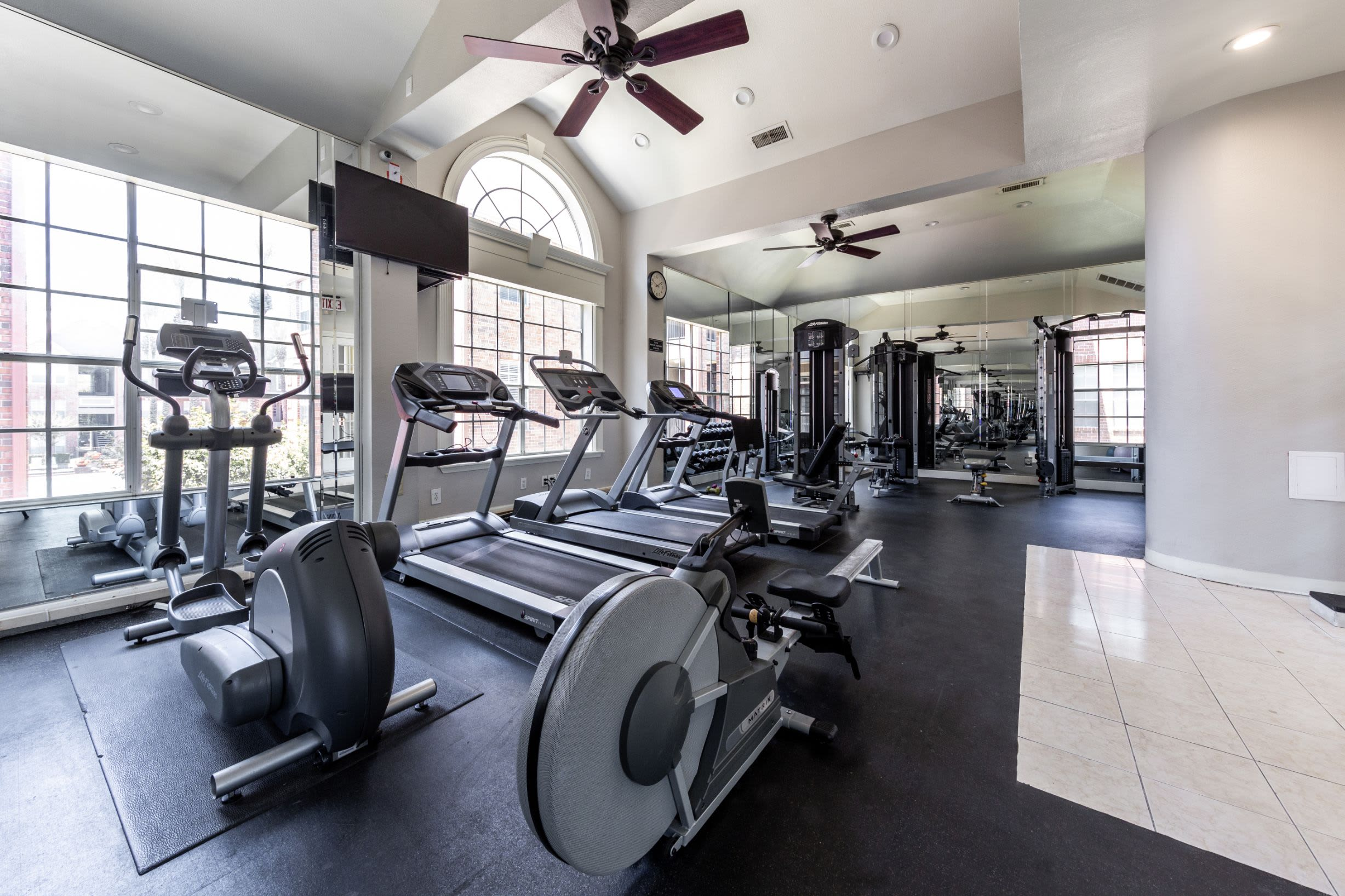 Fully equipped fitness center at Marquis on Pin Oak in Houston, Texas