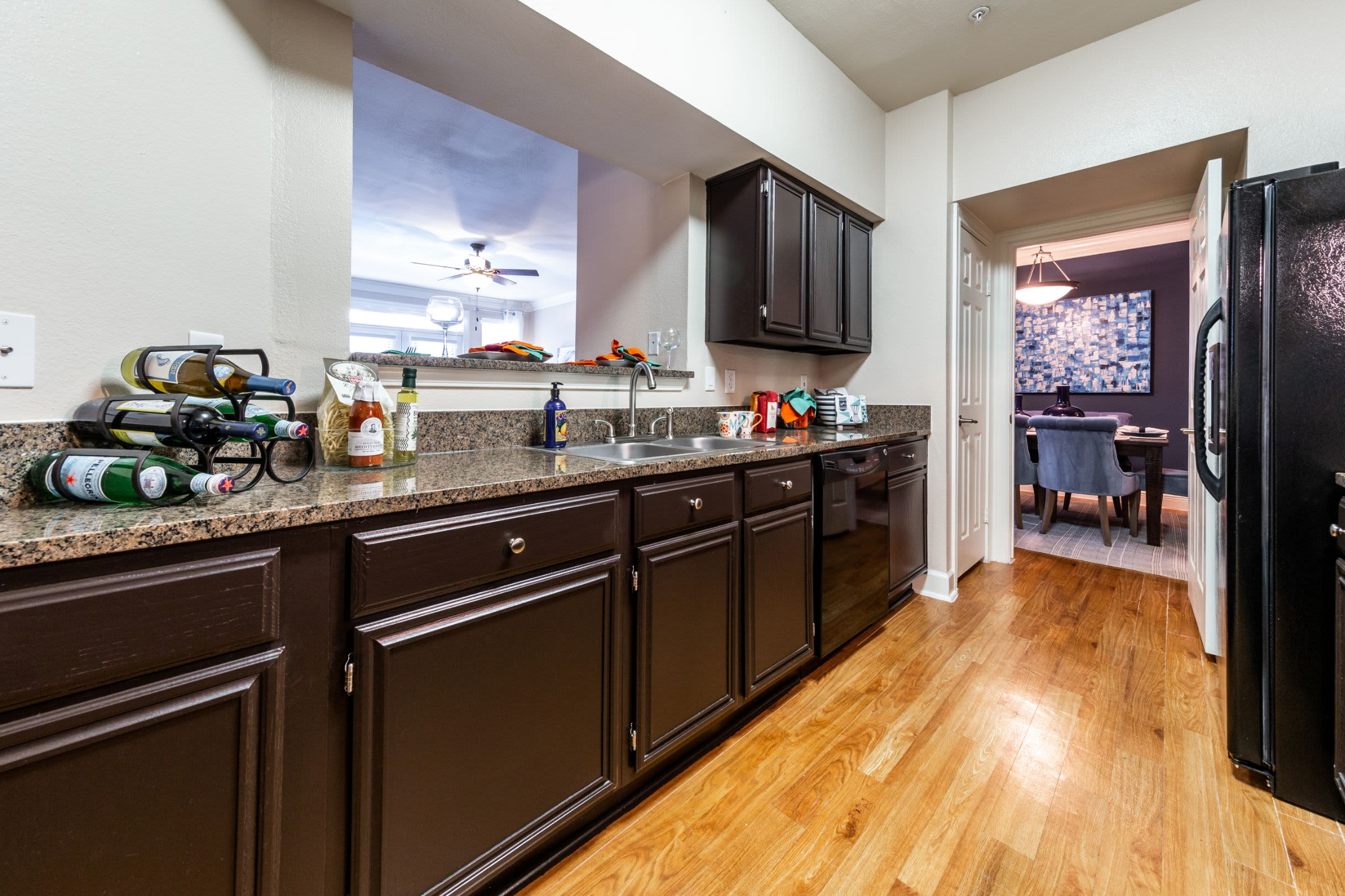 Kitchen with ample counter space at Marquis on Pin Oak in Houston, Texas