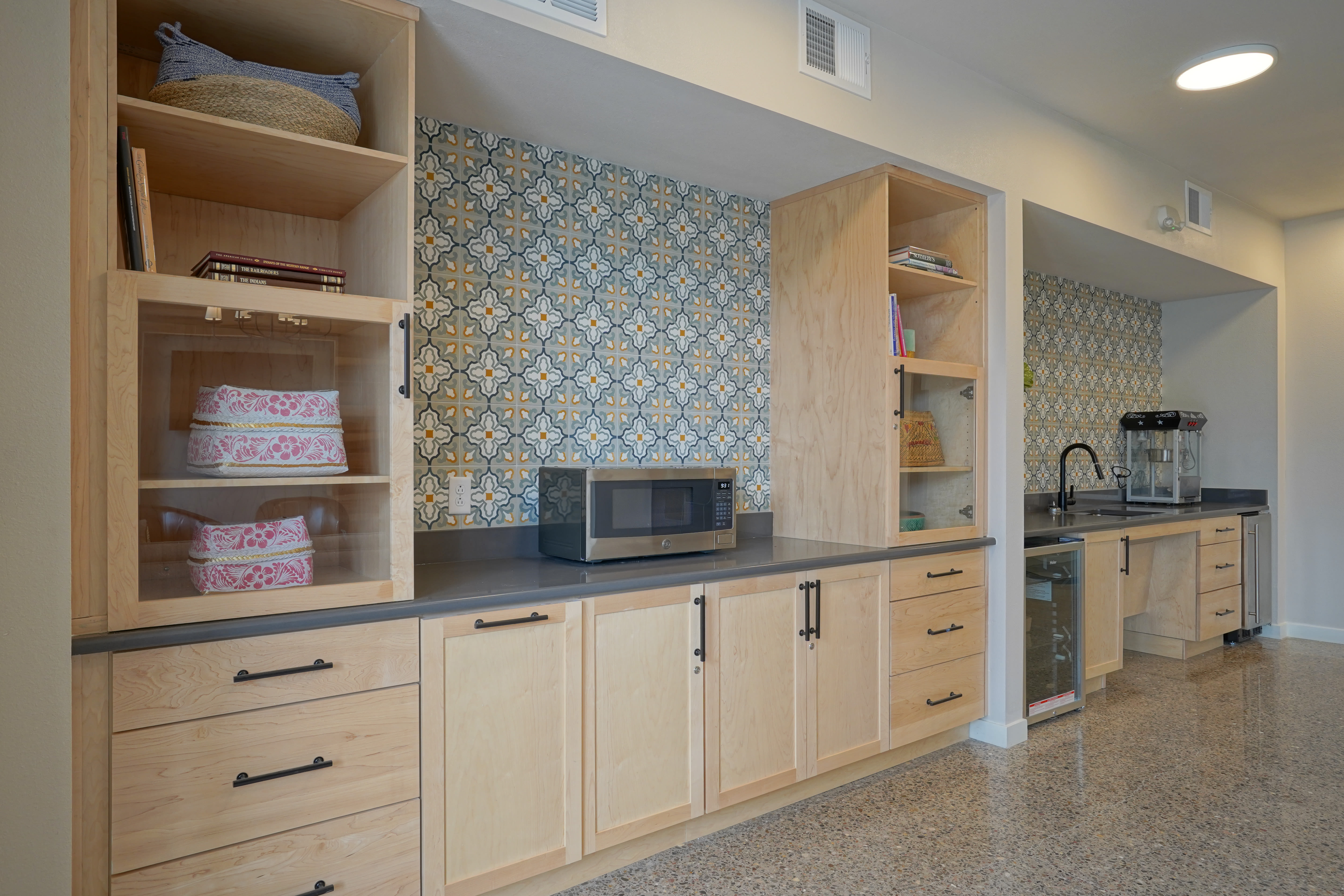 Kitchen in the community lounge at Capitol Flats in Santa Fe, New Mexico