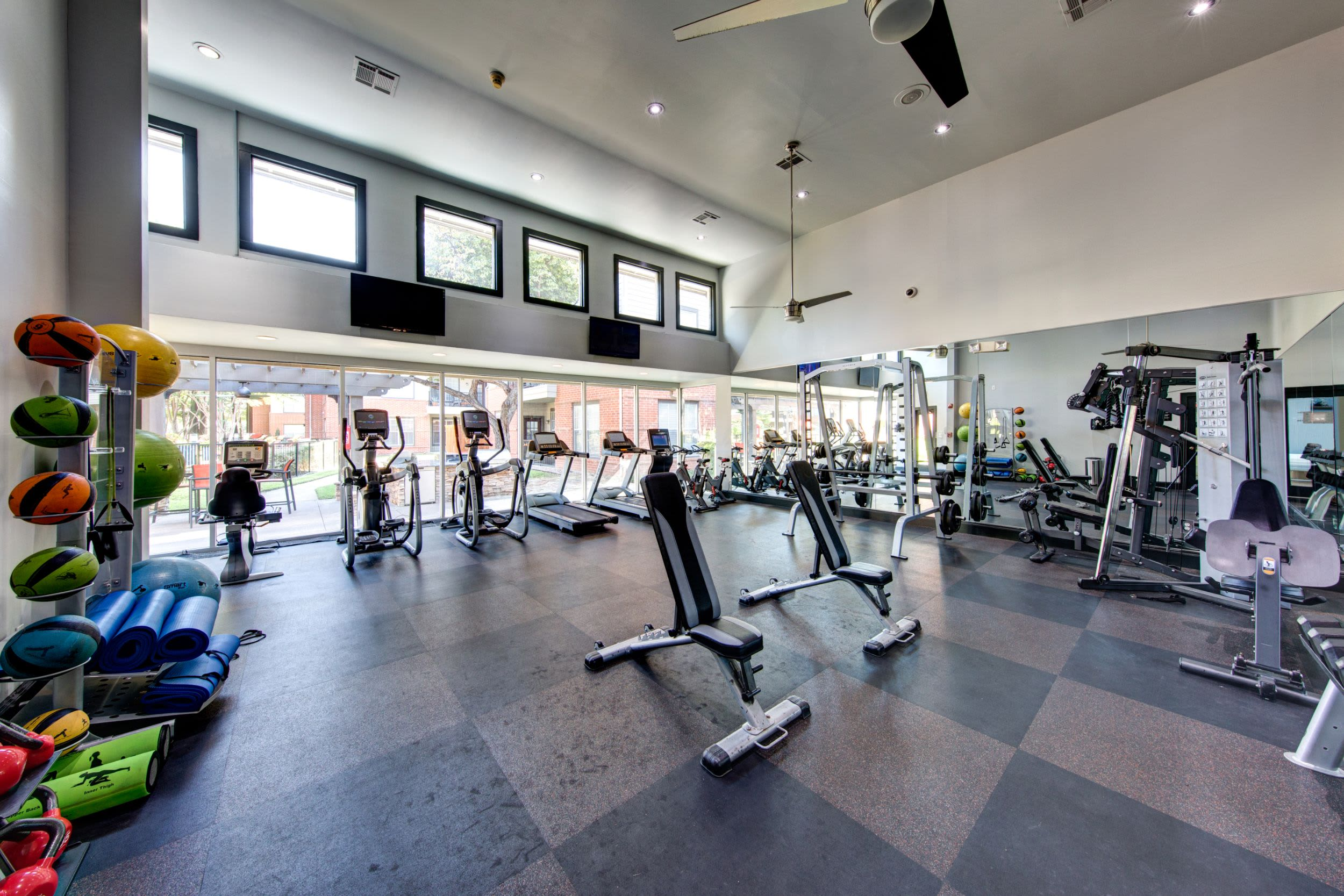 Fully equipped fitness center at Marquis on Gaston in Dallas, Texas