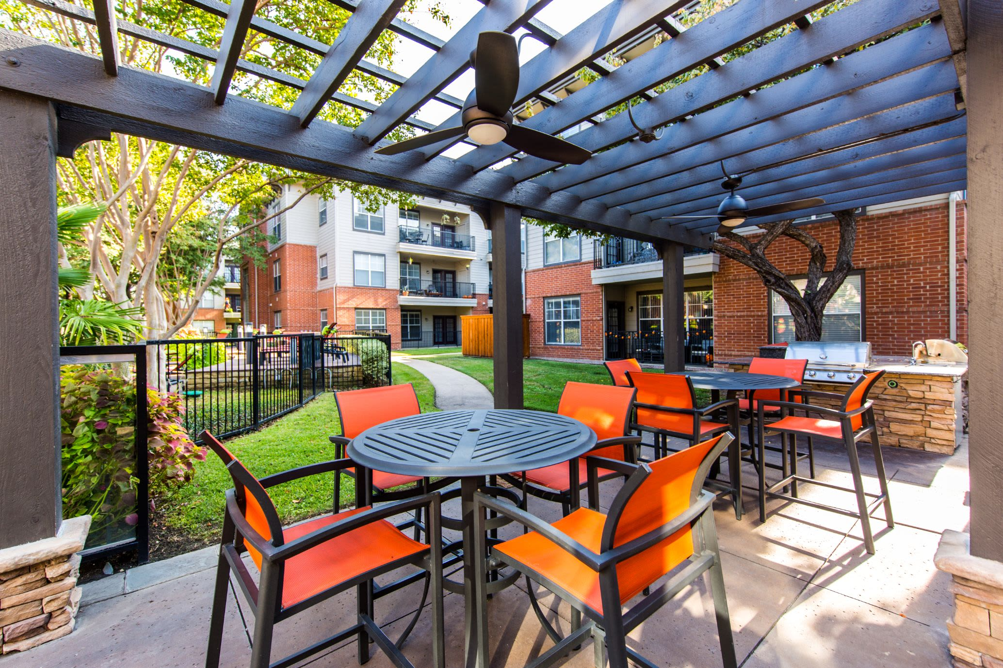 Partially covered outdoor seating at Marquis on Gaston in Dallas, Texas