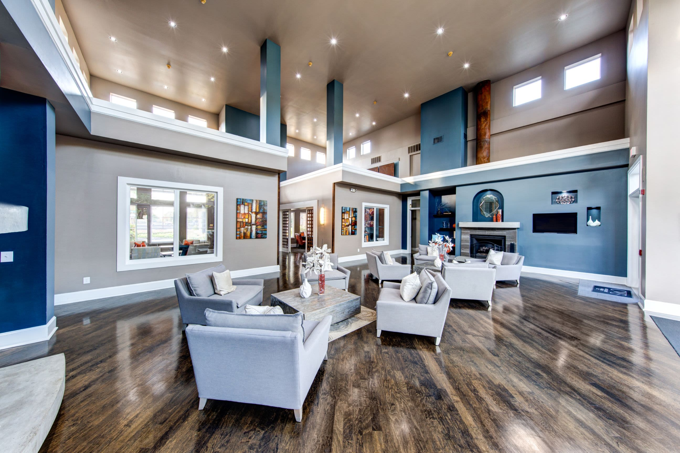 Bright clubhouse with ample seating at Marquis on Gaston in Dallas, Texas