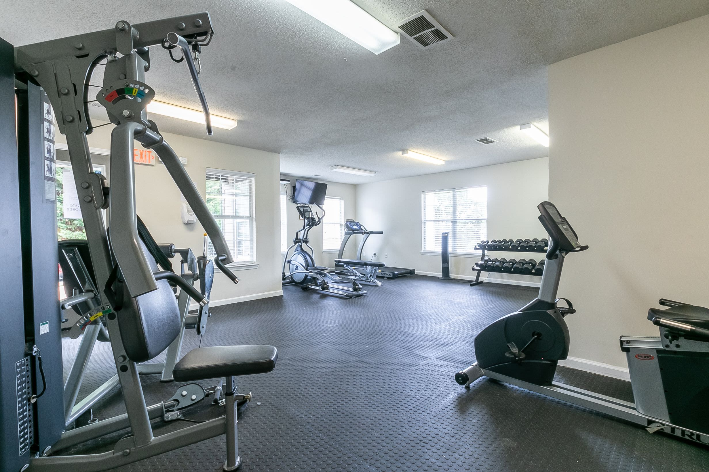 Fitness center at The Square at Lawrenceville in Lawrenceville, Georgia