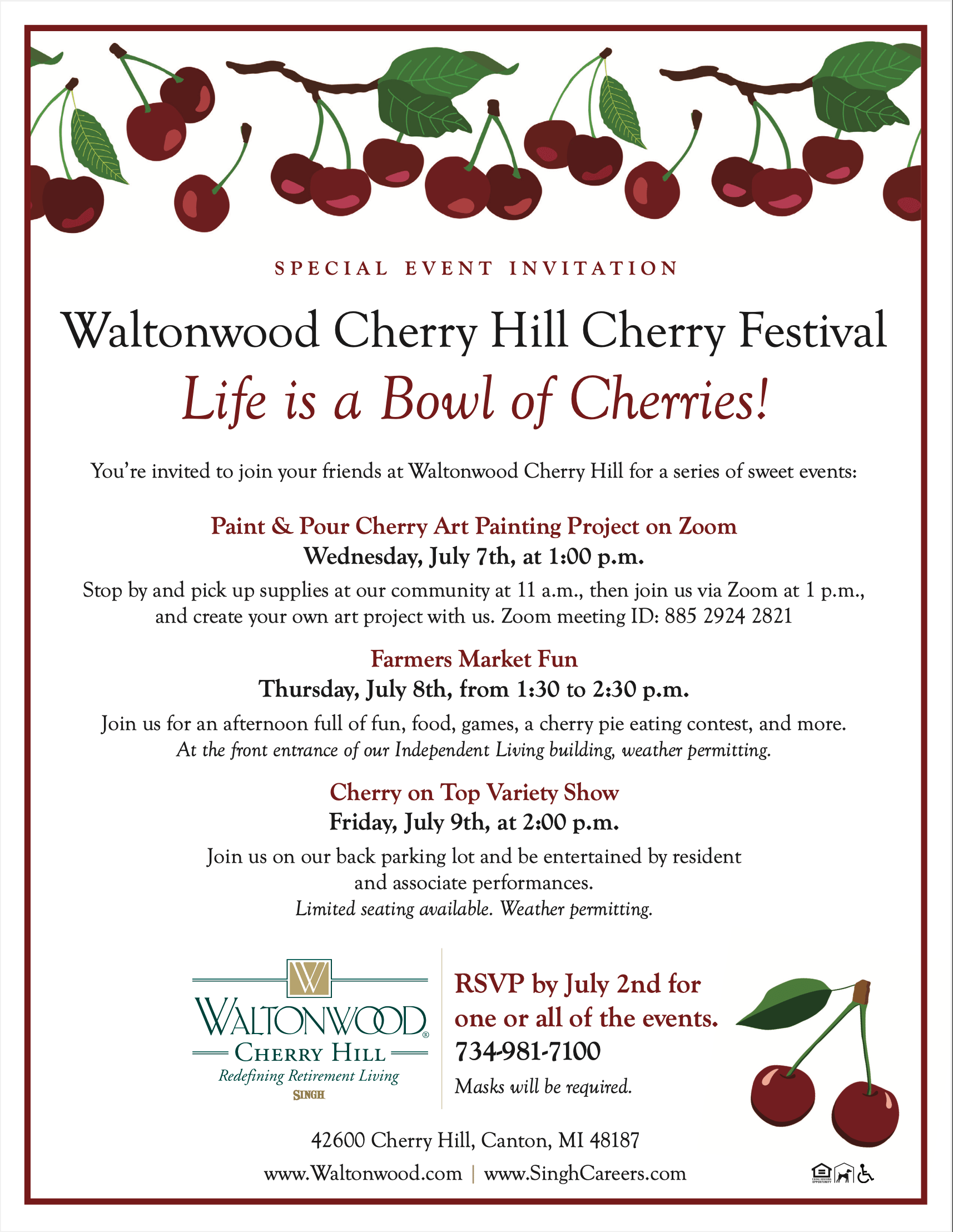 Cherry Hill Cherry Festival Flyer - July 7-9