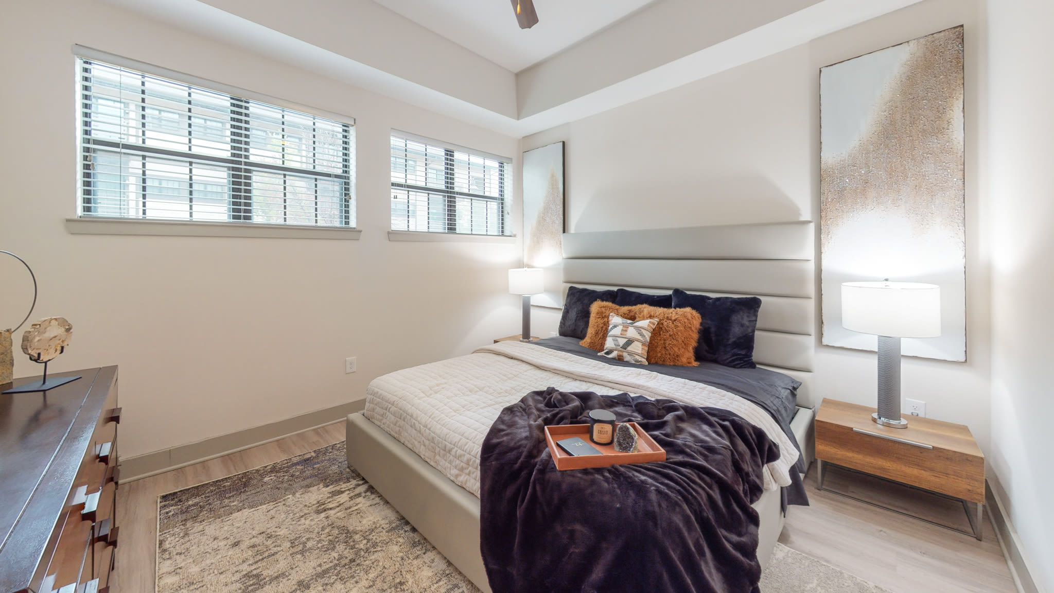 Cozy furnished bedroom  at Bellrock Bishop Arts in Dallas, Texas