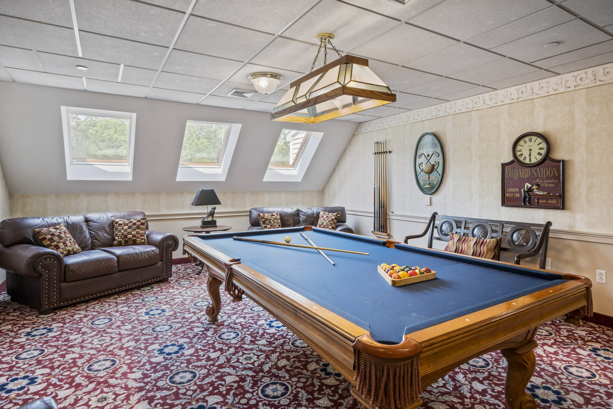 Billiards room at The Hearth at Gardenside in Branford, Connecticut