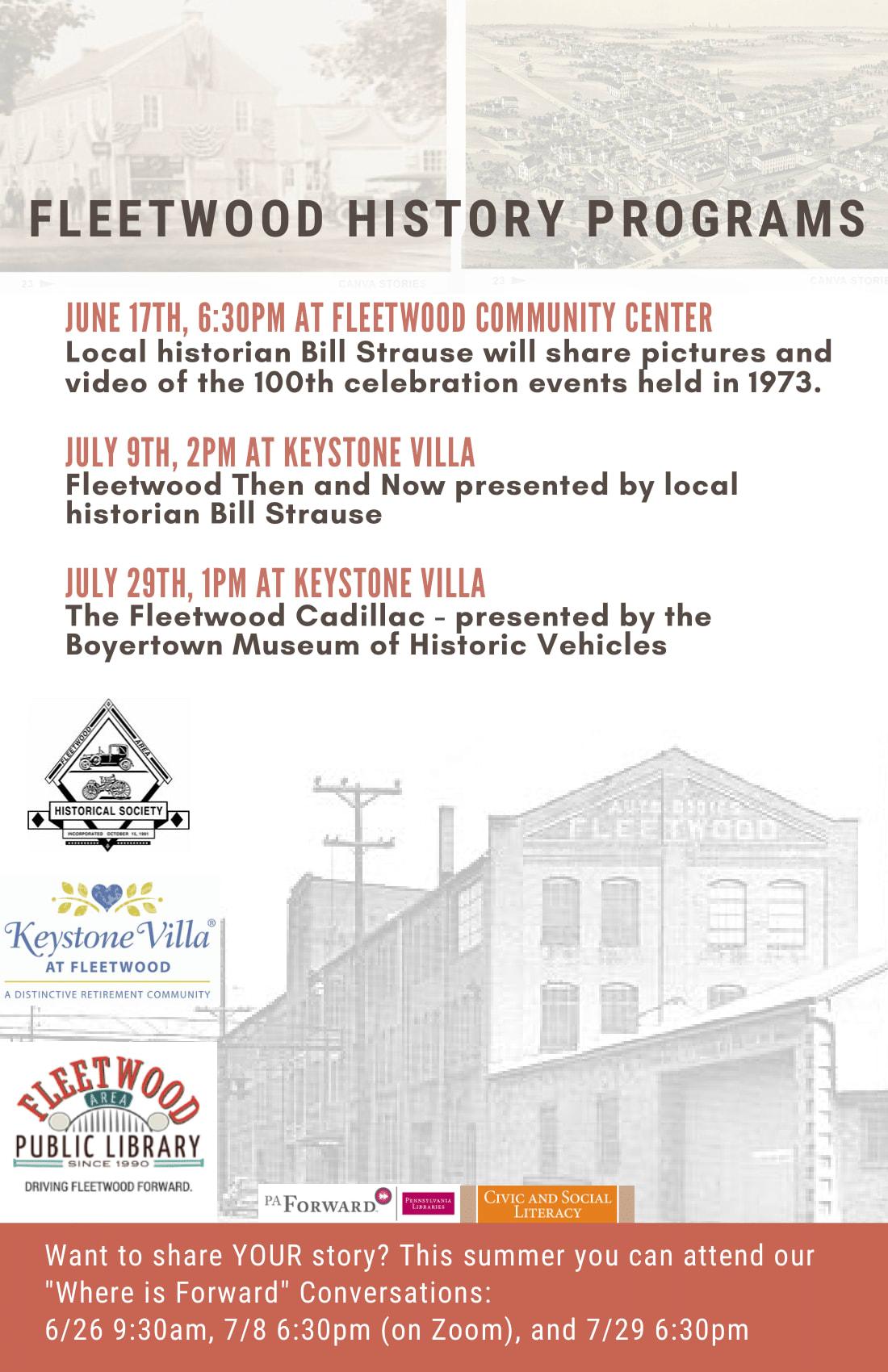 Fleetwood History Programs Flyer