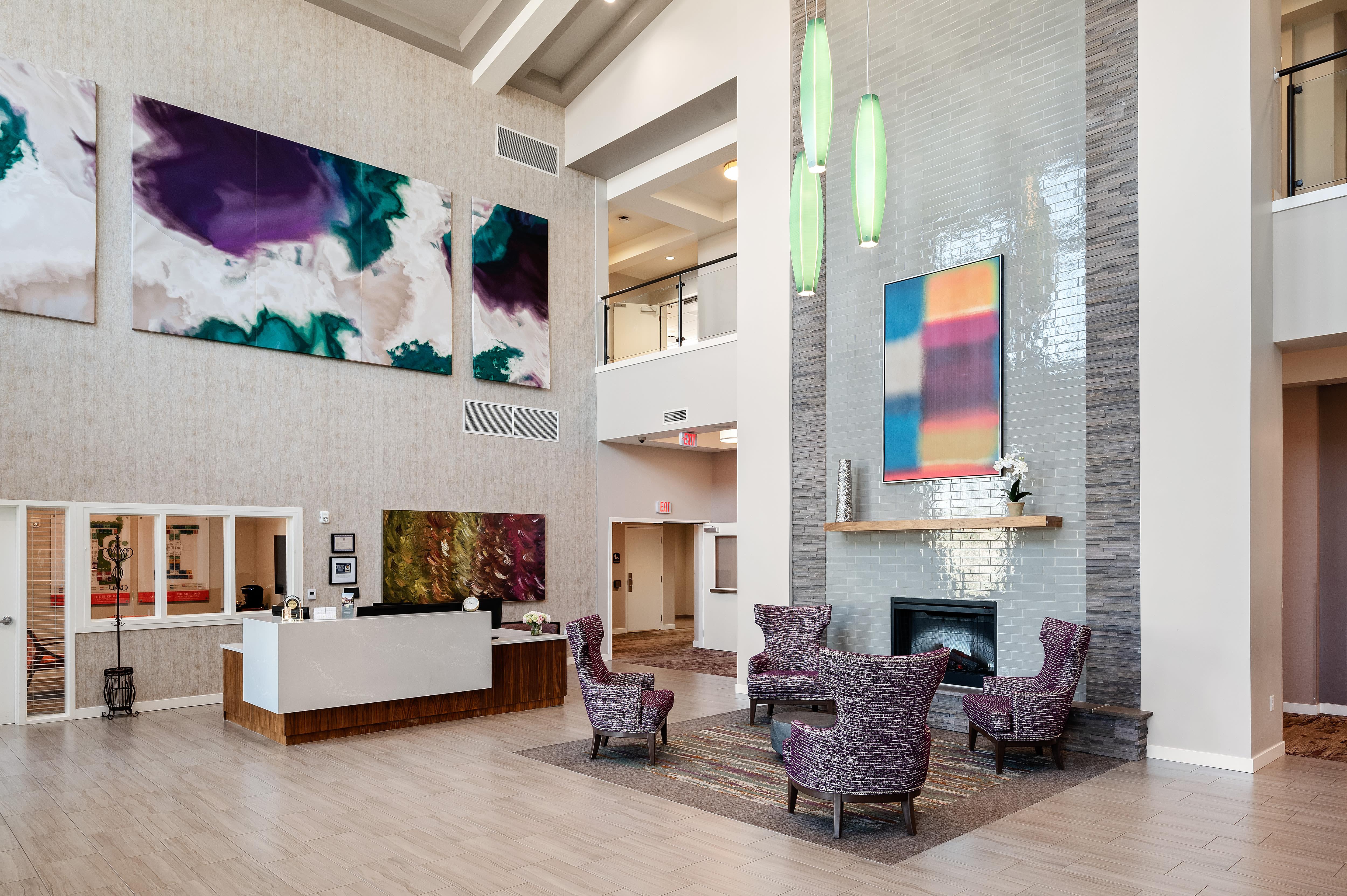 A large lobby at Anthology of South Jordan in South Jordan, Utah