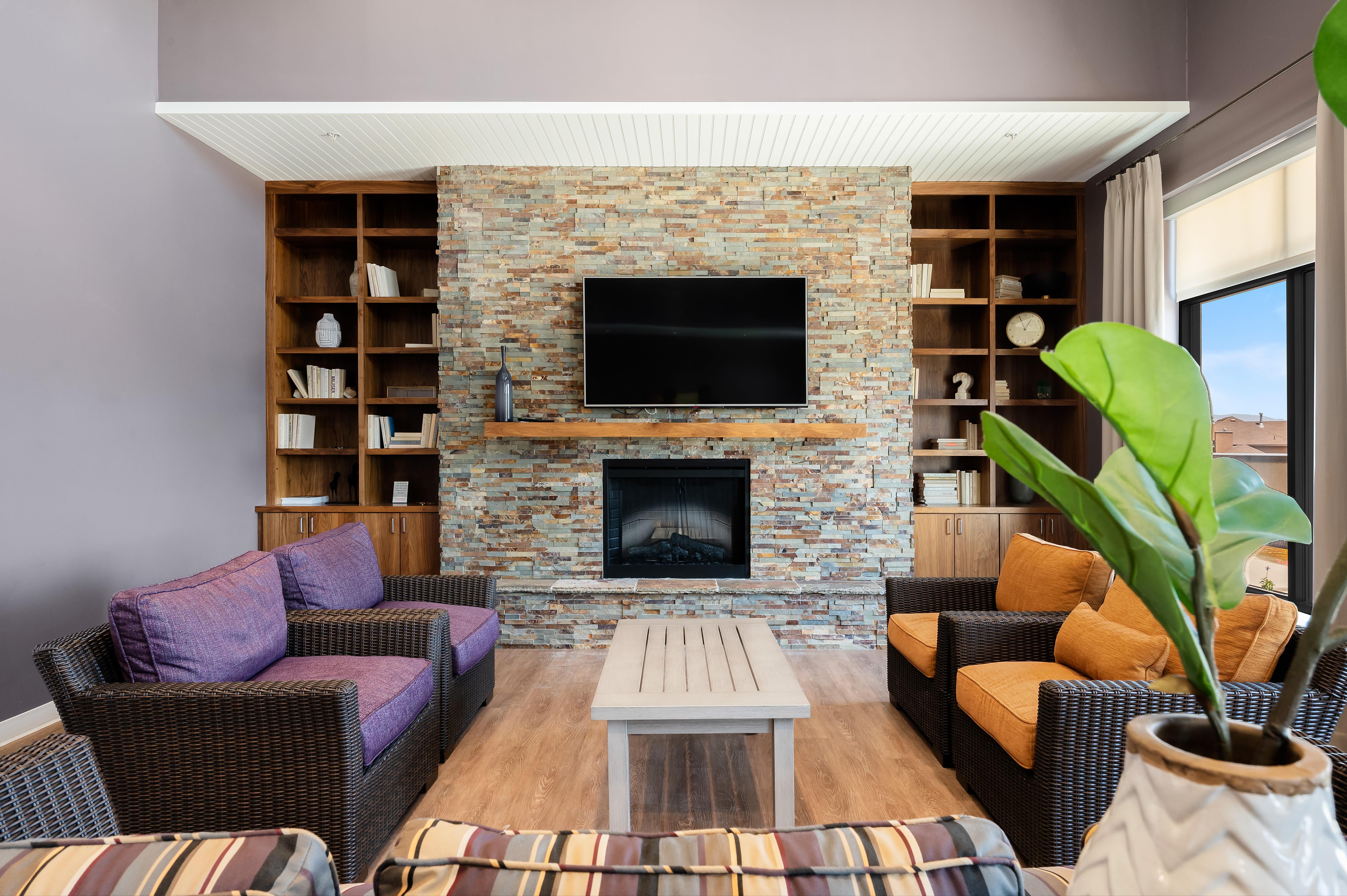 A lounge at Anthology of South Jordan in South Jordan, Utah
