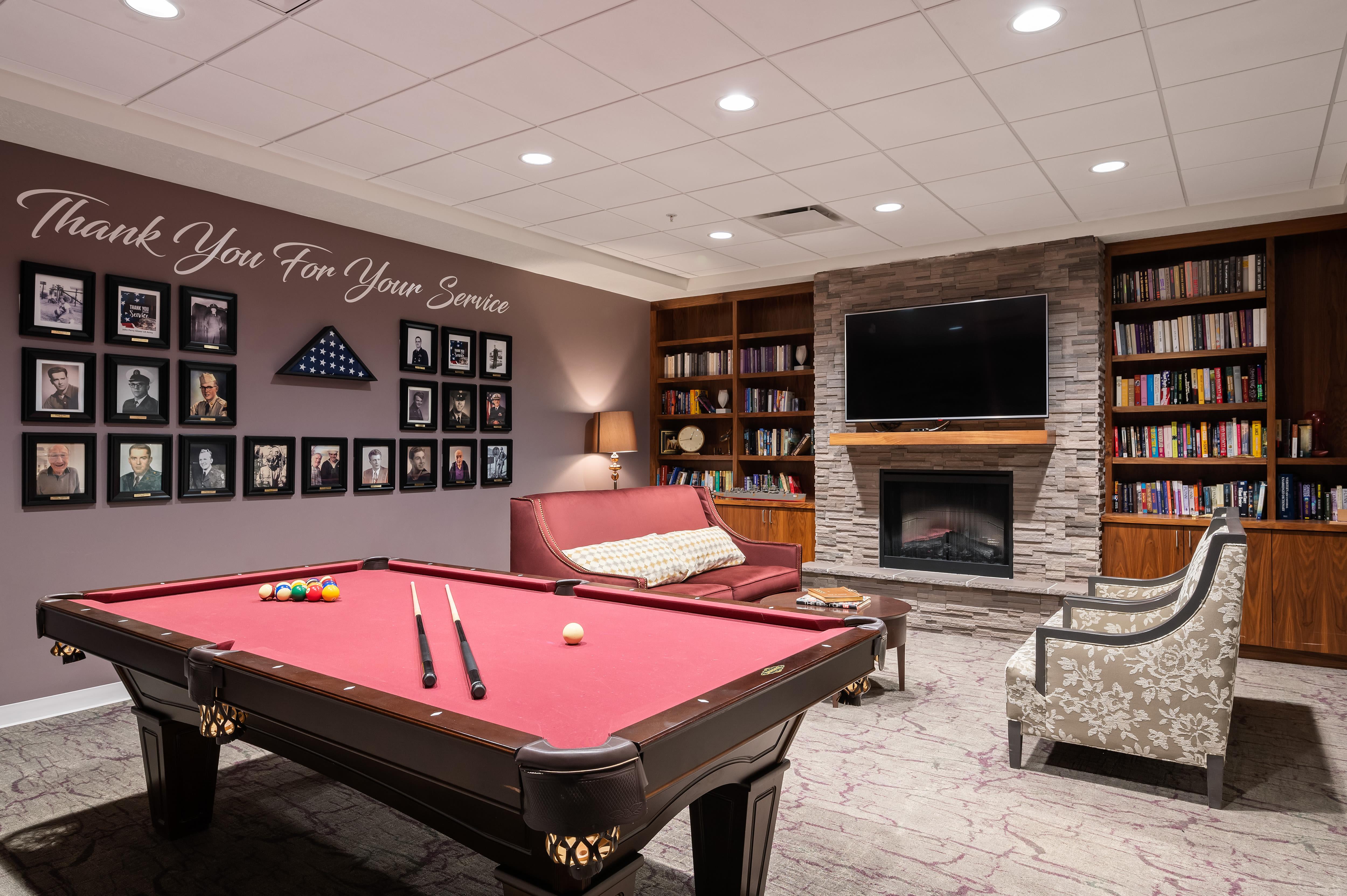 A game room at Anthology of South Jordan in South Jordan, Utah.