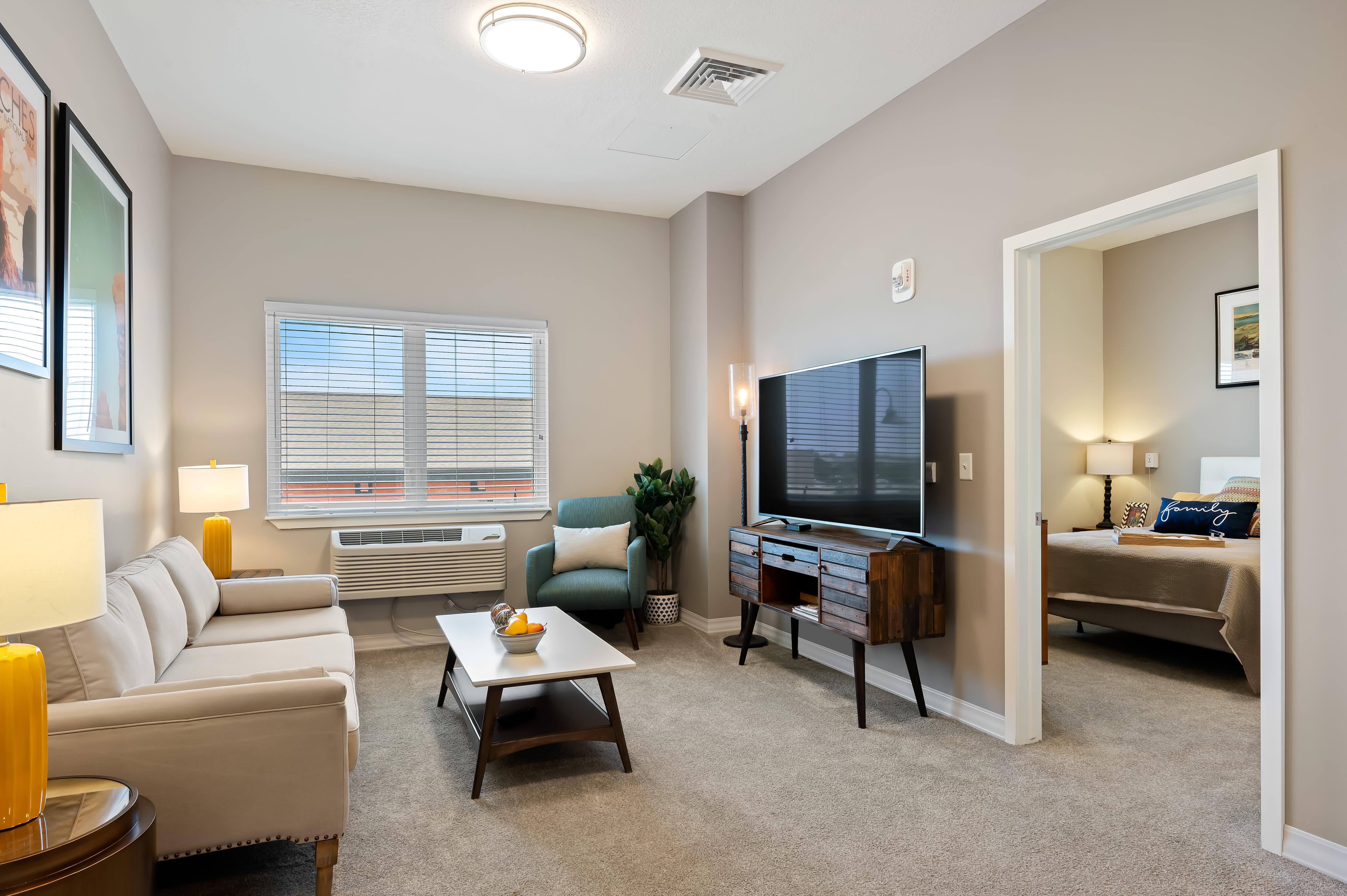 A resident living room at Anthology of South Jordan in South Jordan, Utah
