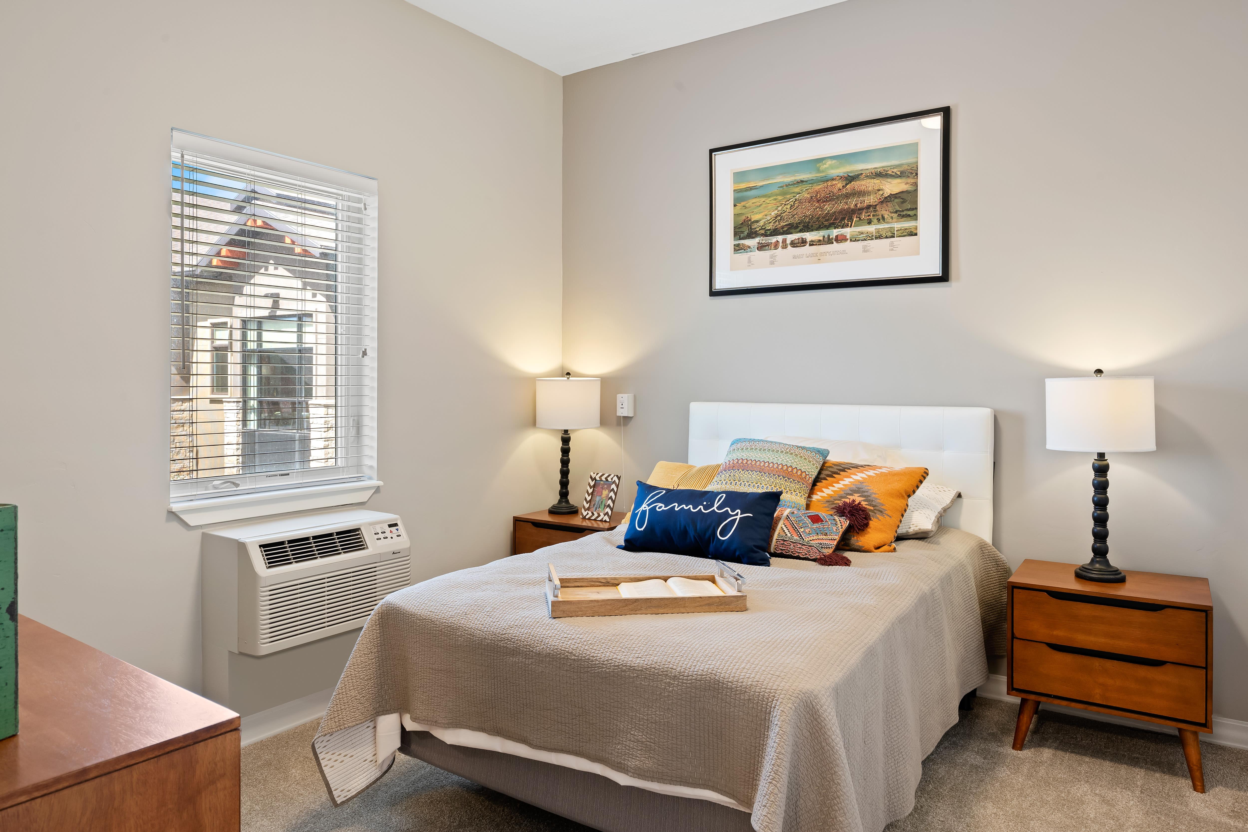 A resident bedroom at Anthology of South Jordan in South Jordan, Utah.