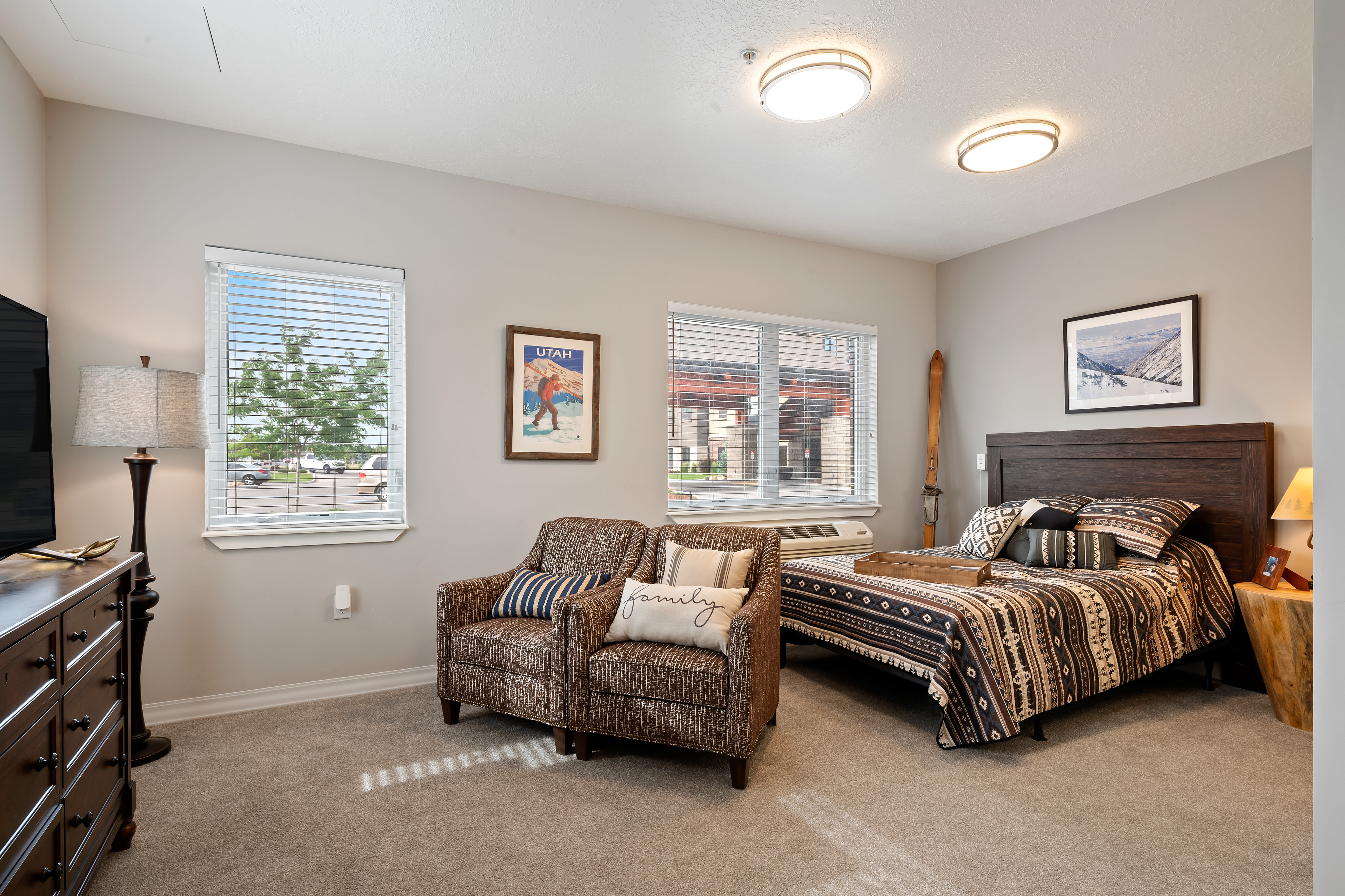 A large resident bedroom at Anthology of South Jordan in South Jordan, Utah