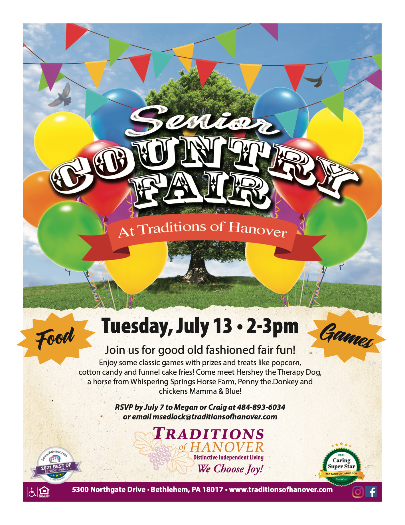 Senior Country Fair flyer - July 13th