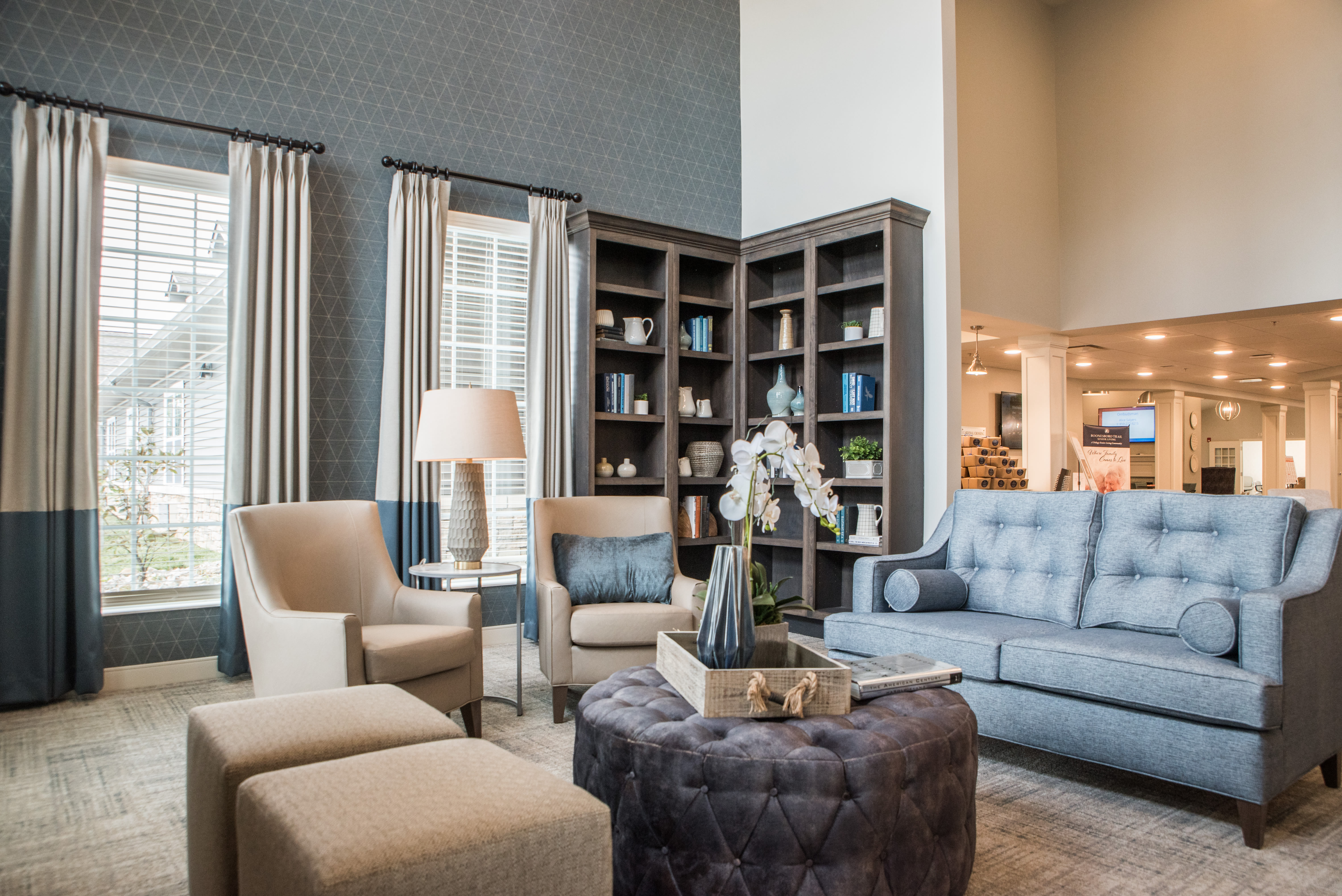The library at Boonesboro Trail Senior Living in Winchester, Kentucky