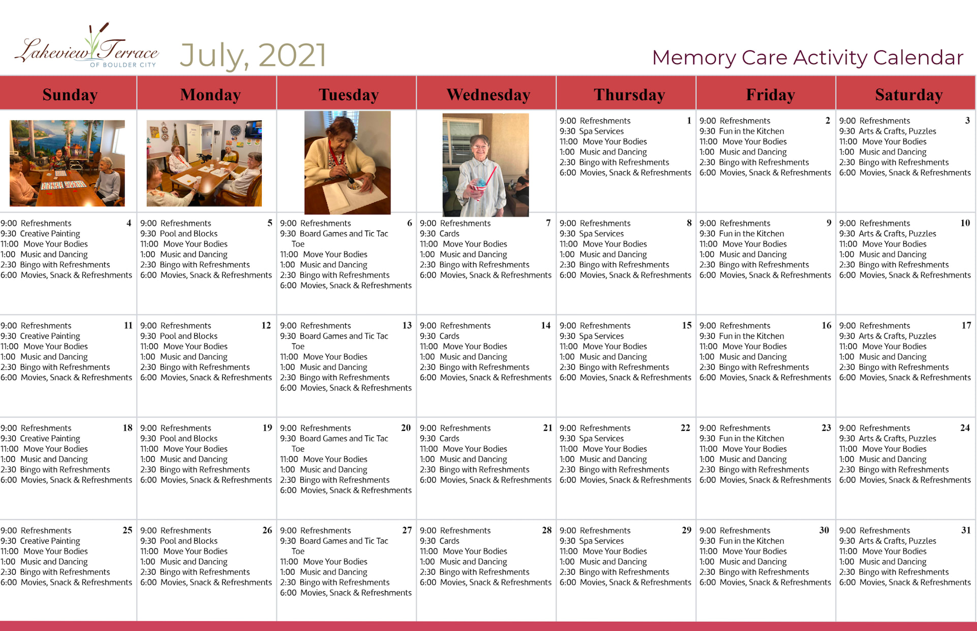 July 2021 Memory Care Calendar