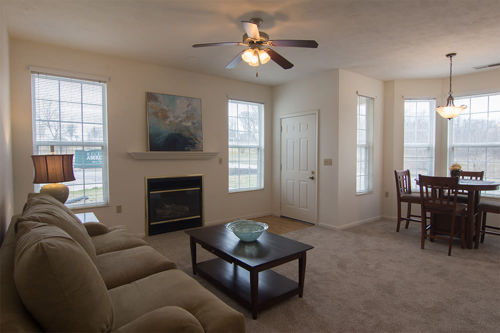 Naturally well-lit living room at Hills of Aberdeen Apartment Homes in Valparaiso, Indiana