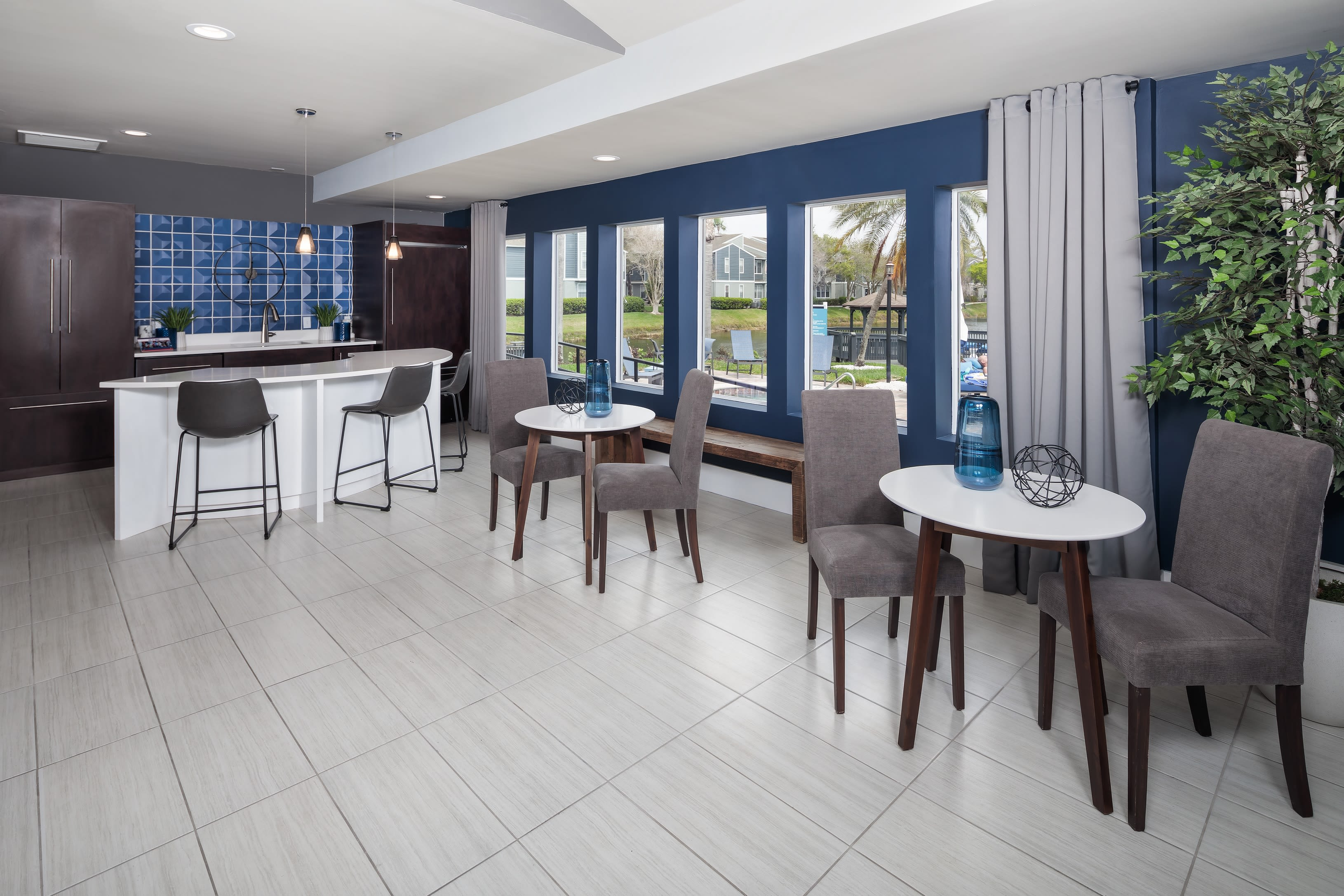 View virtual tour of the leasing office and clubhouse at Fairways at Feather Sound in Clearwater, Florida