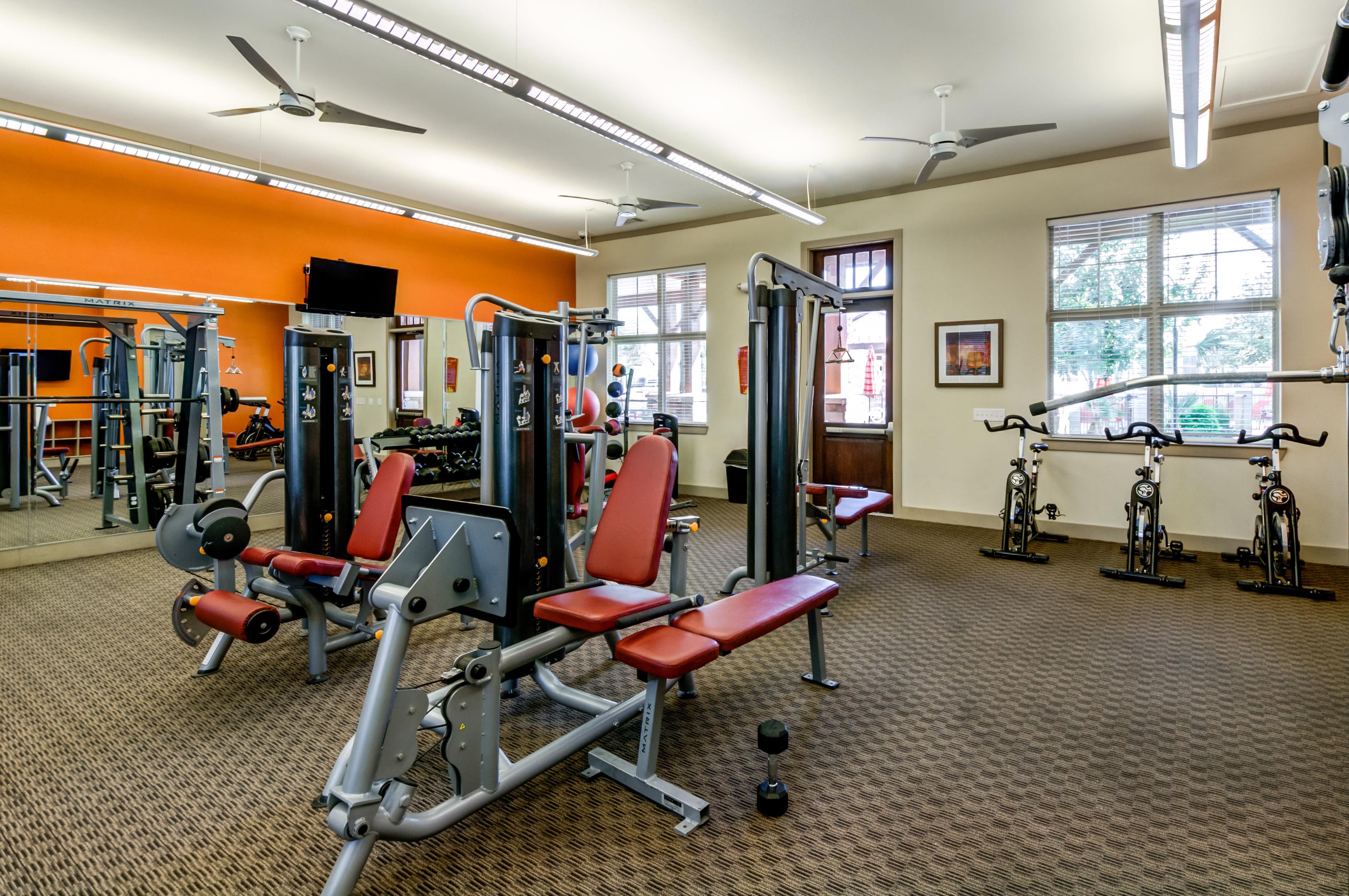 View virtual tour of our fitness center at Firewheel Apartments in San Antonio, Texas